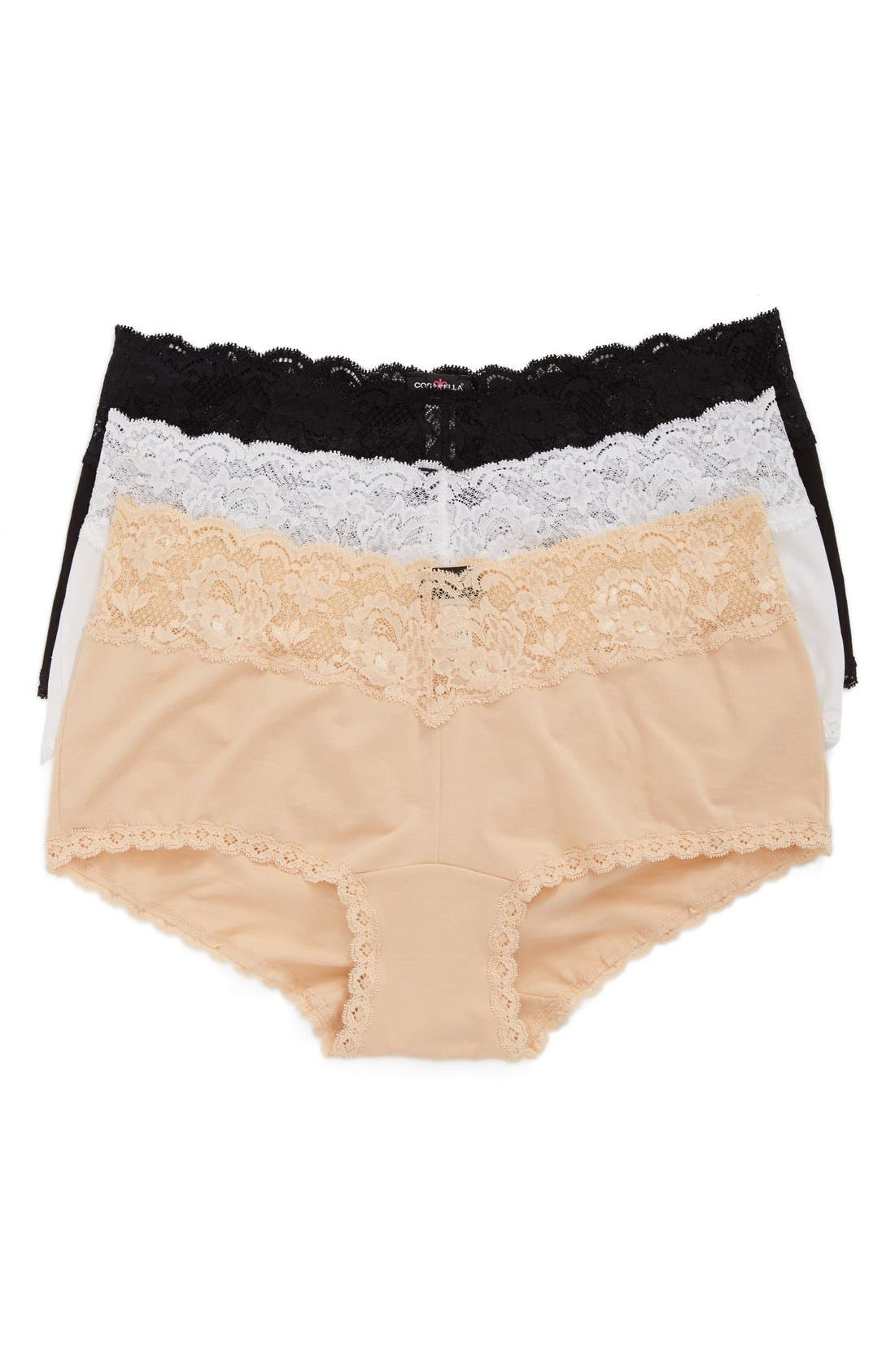 'Cheekie' Lace Trim Briefs,                             Main thumbnail 1, color,                             Black/ White/ Blush