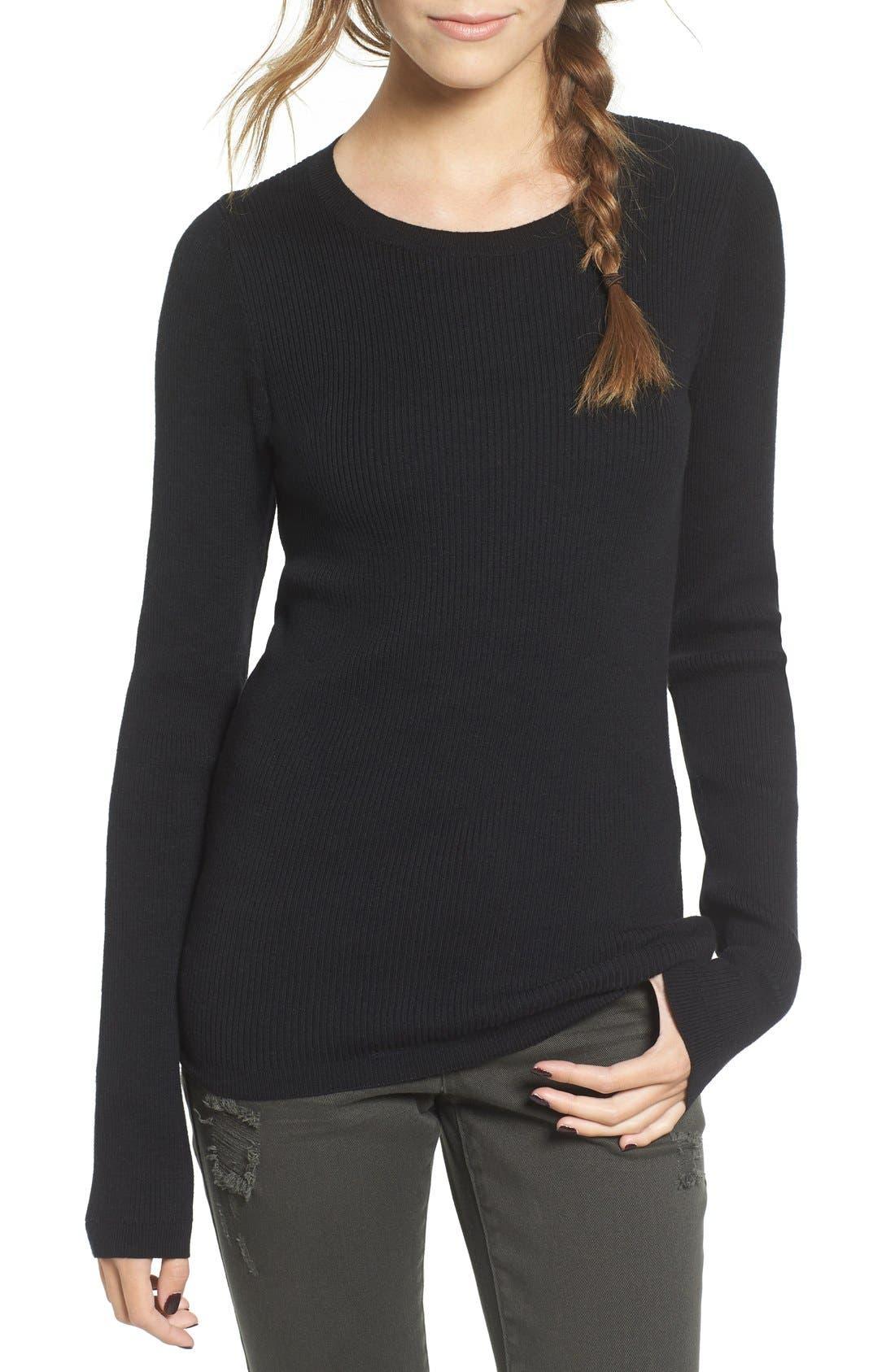Rib Knit Pullover,                             Main thumbnail 1, color,                             Black