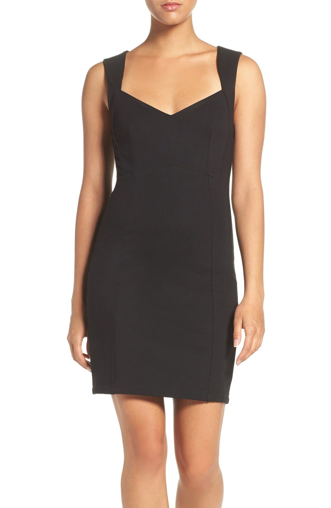'Lula' Stretch Body-Con Dress,                             Main thumbnail 1, color,                             Black