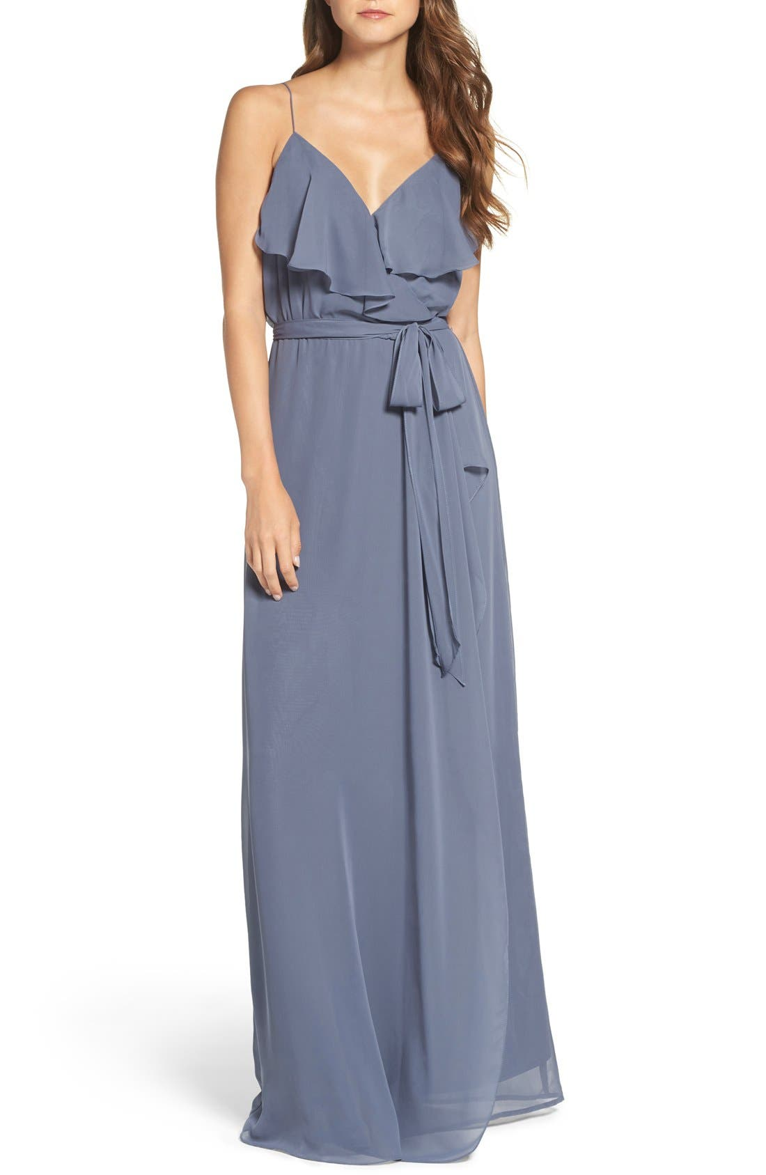 'Drew' Ruffle Front Chiffon Gown,                             Main thumbnail 1, color,                             Blue Steel