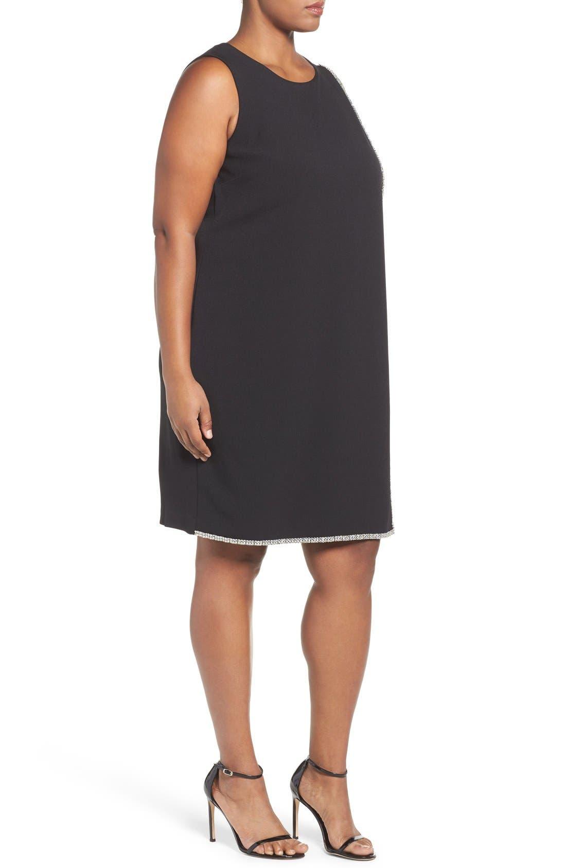 Crystal Trim Shift Dress,                             Alternate thumbnail 3, color,                             Black