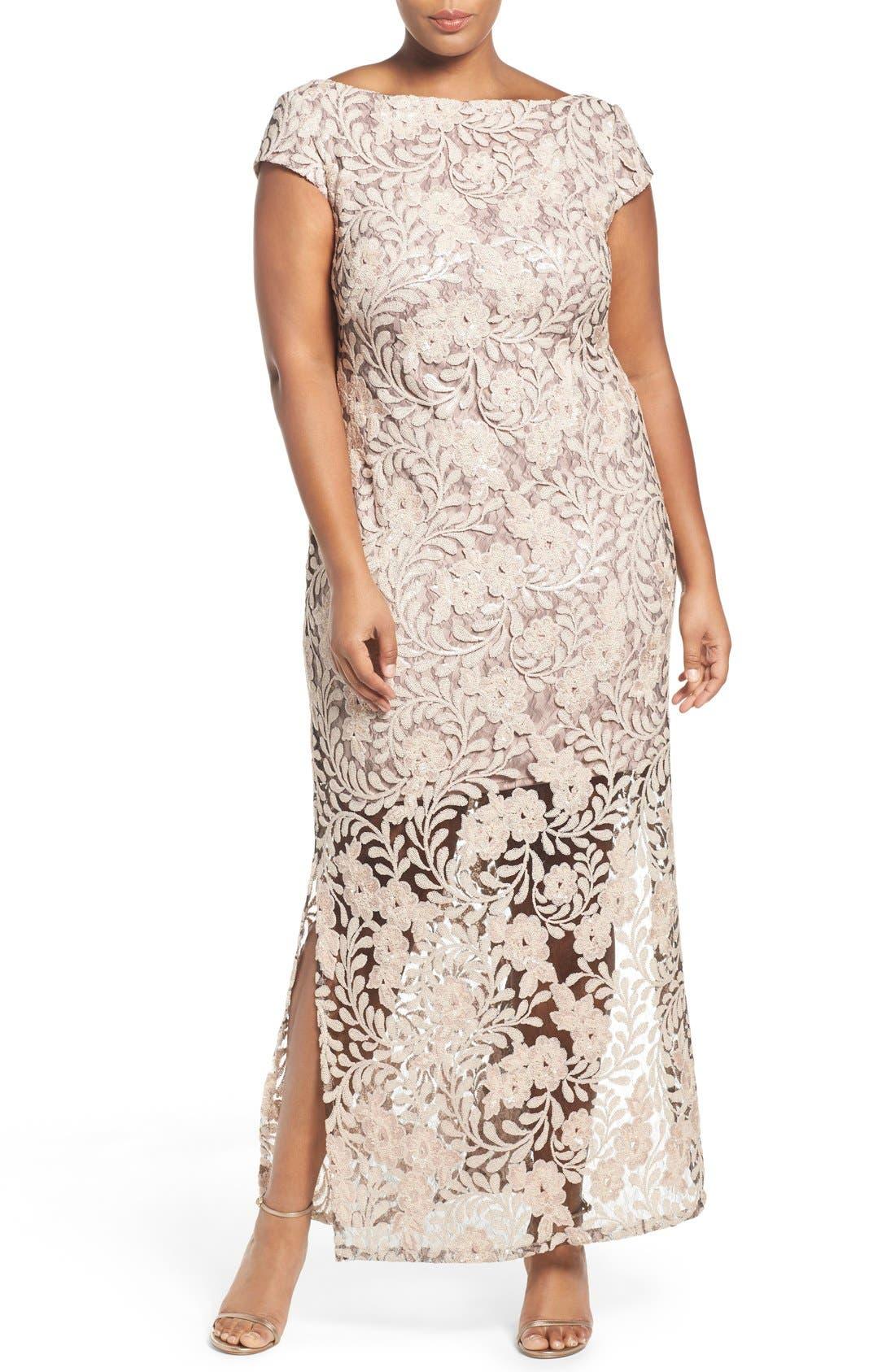 Main Image - Brianna Sequin Lace Column Gown (Plus Size)