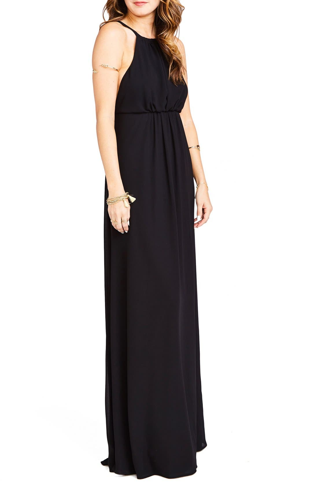 Amanda Open Back Blouson Gown,                             Alternate thumbnail 3, color,                             Black Chiffon