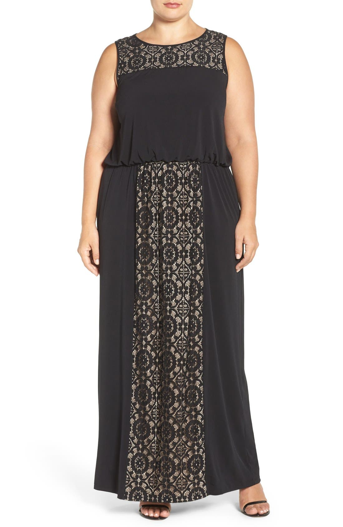 Lace Panel Gown,                         Main,                         color, Black/ Nude