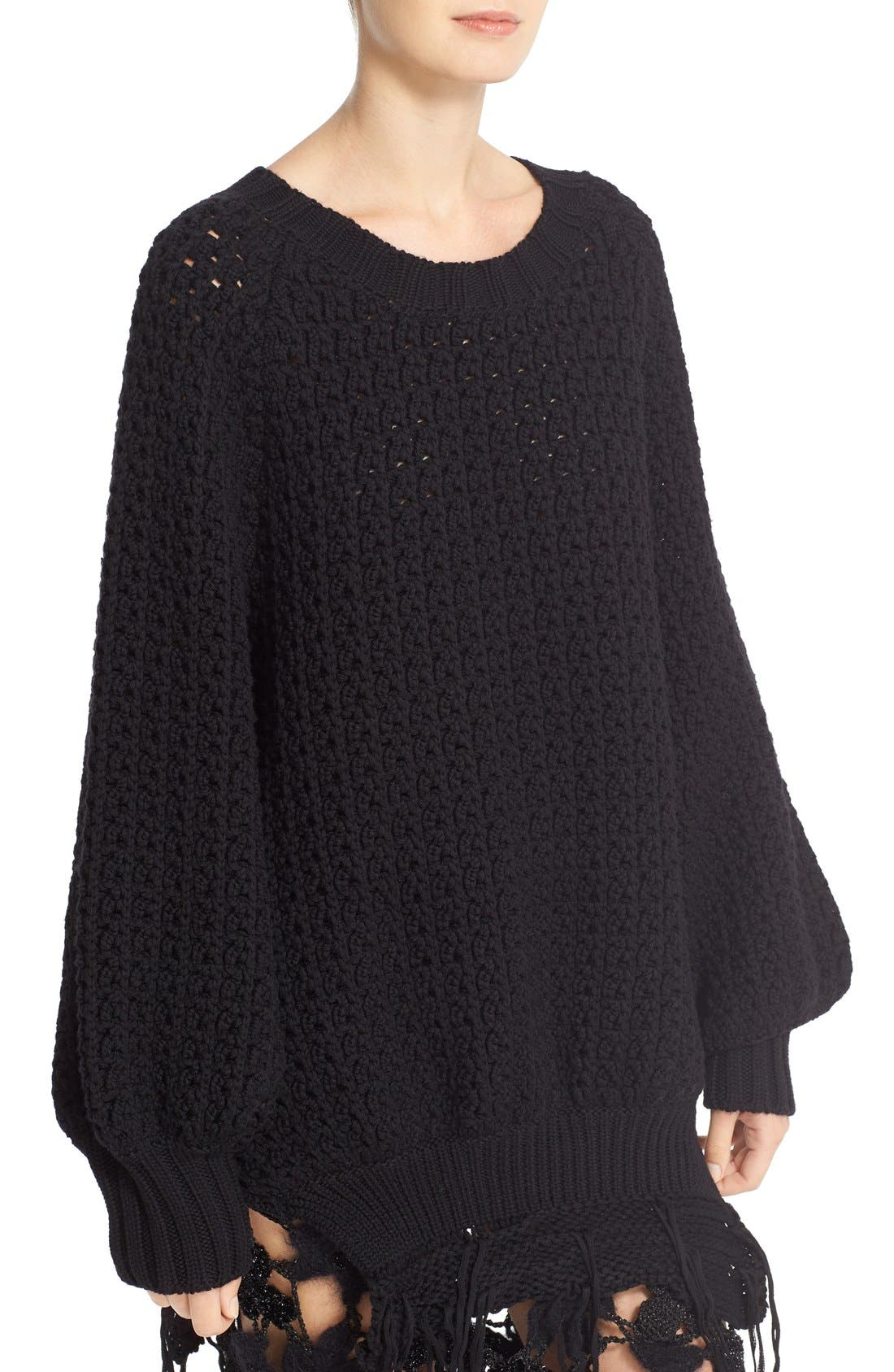 Alternate Image 5  - Simone Rocha Long Chunky Knit Wool Sweater with Fringe