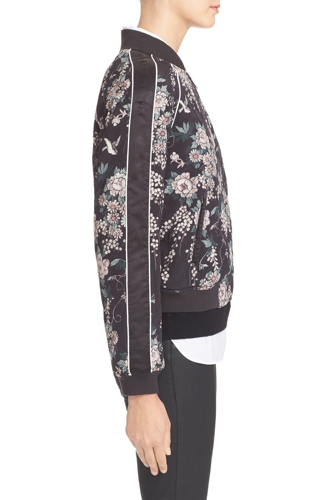 Alternate Image 4  - Joie Mace Print Quilted Silk Baseball Jacket