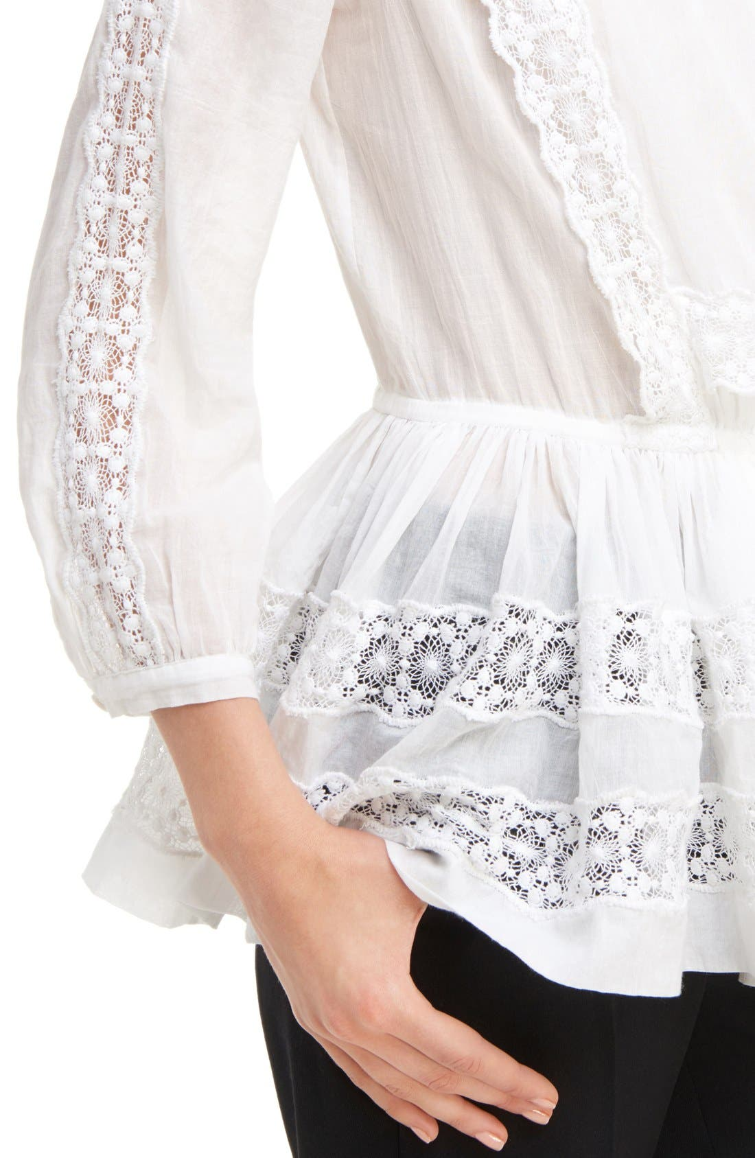 Alternate Image 5  - Givenchy Ruffle Crepon Peasant Blouse