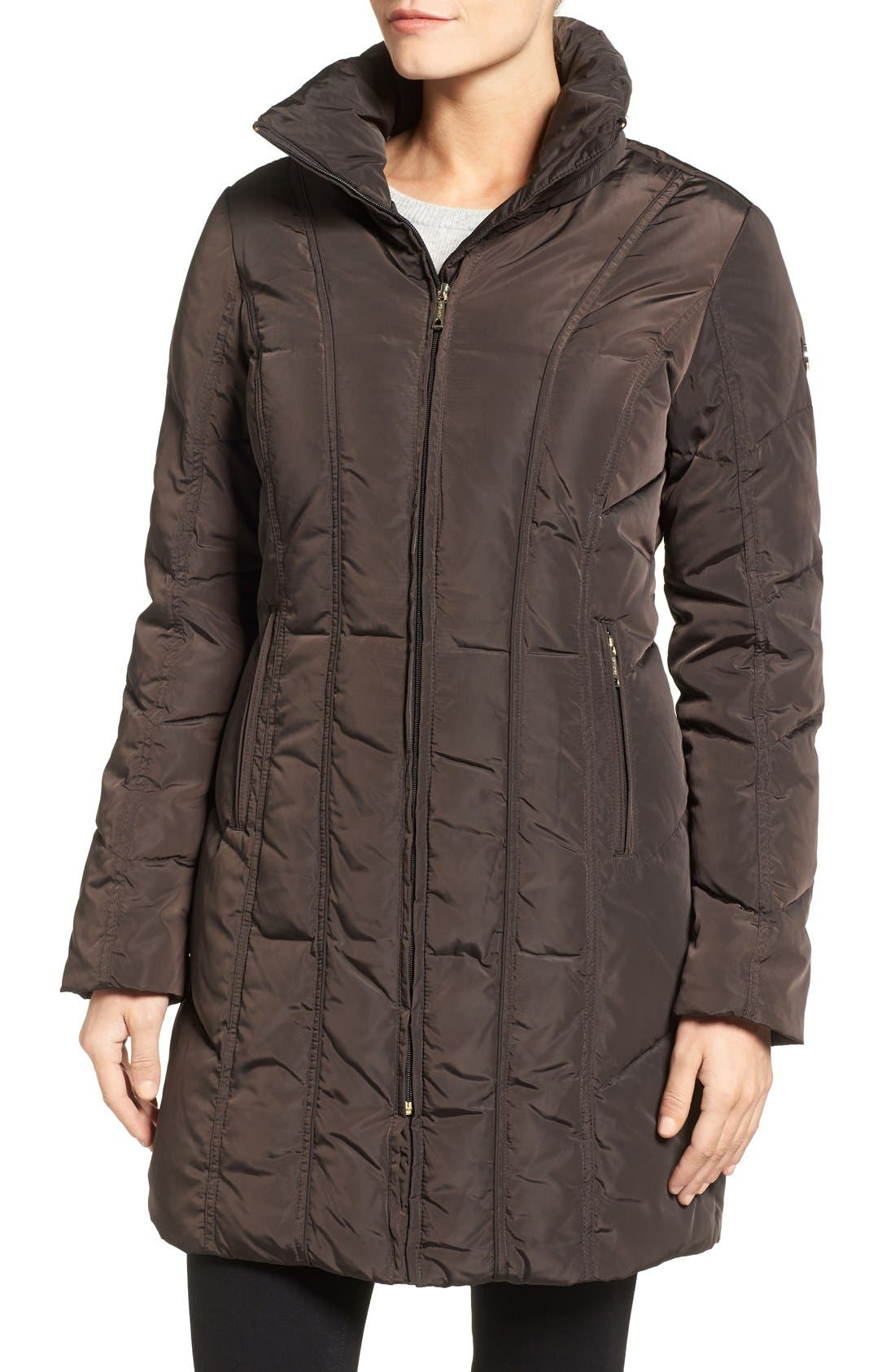 Alternate Image 4  - Calvin Klein Down & Feather Fill Coat with Faux Fur Trim Hood (Regular & Petite)