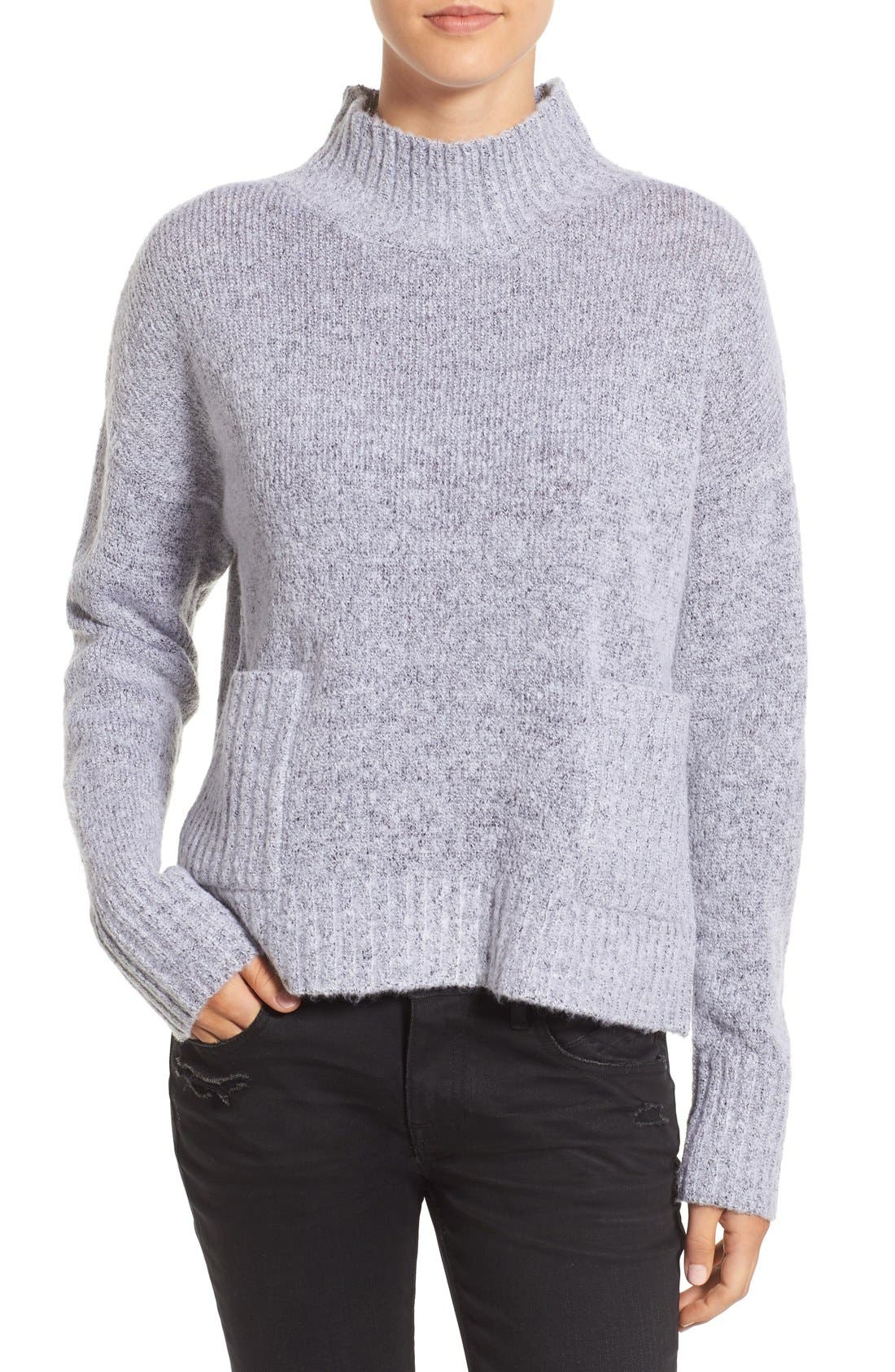 Alternate Image 1 Selected - Love by Design Mock Neck Patch Pocket Pullover