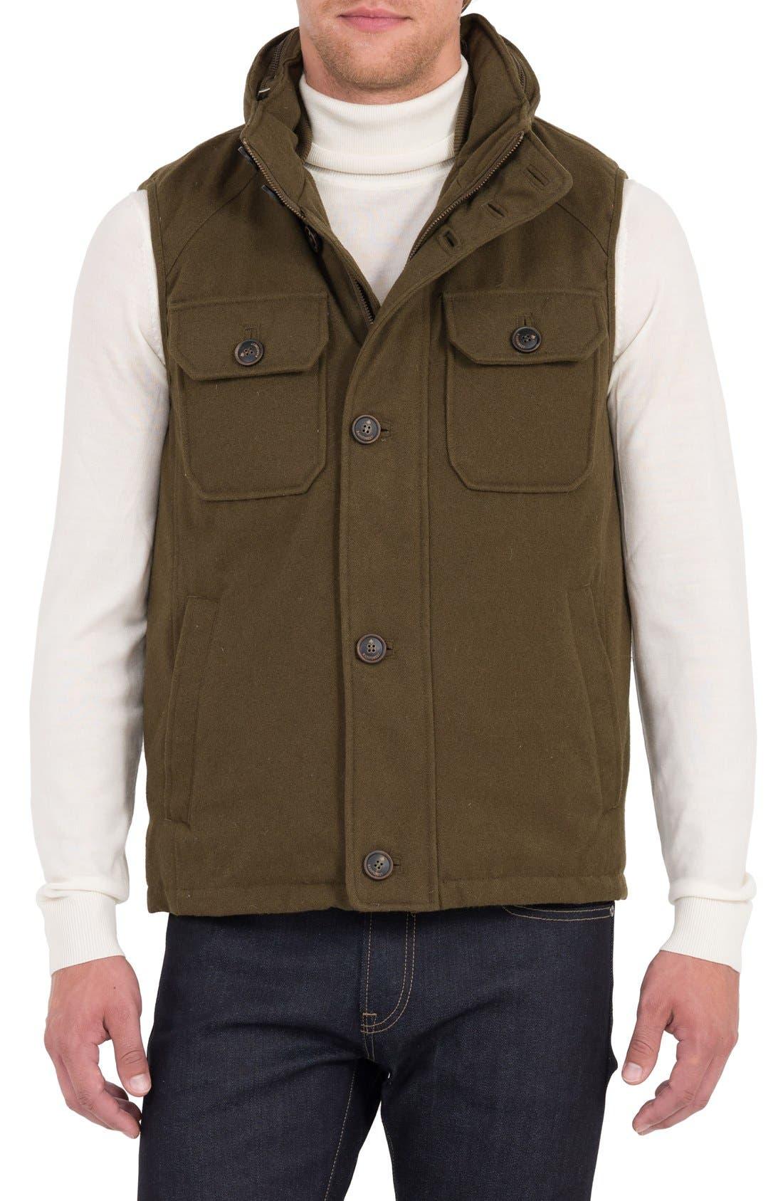 Rainforest Water Resistant Down Vest with Stowaway Hood