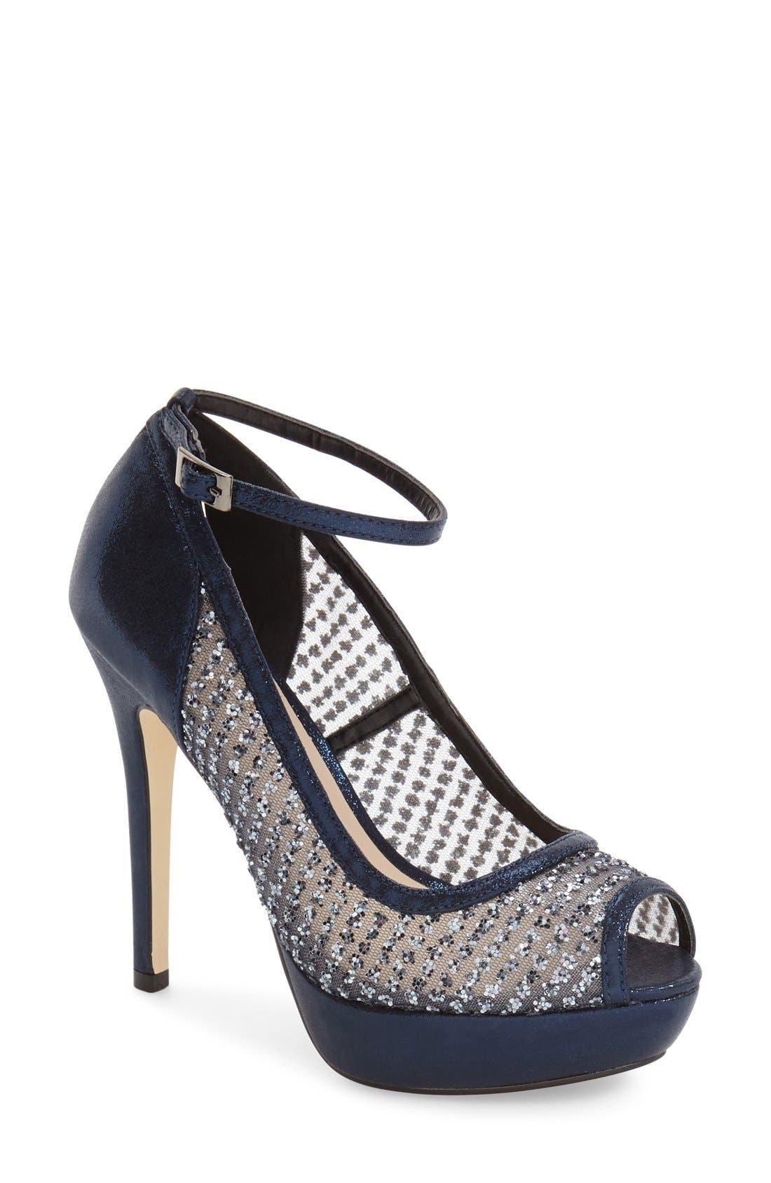 'Tambre' Glitter Platform Sandal,                         Main,                         color, Blue Fabric