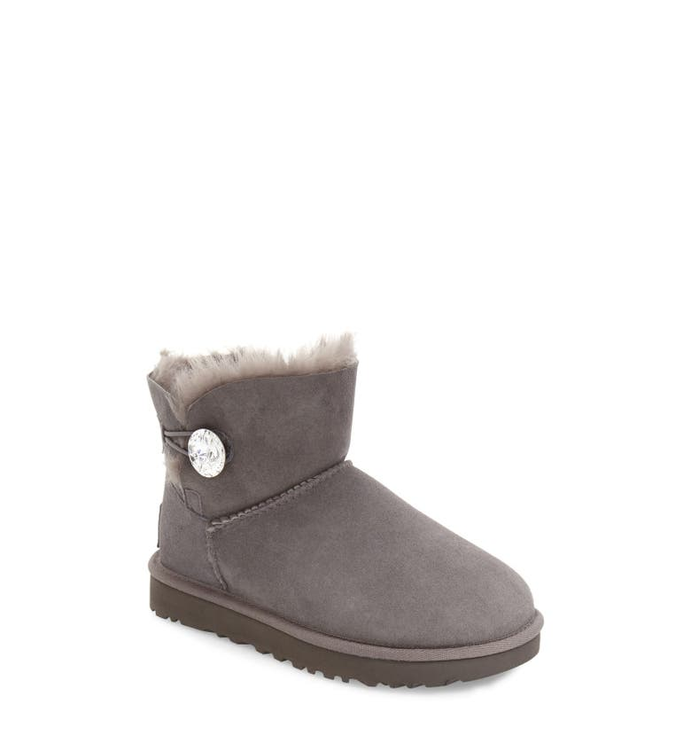 Ugg Mini Bailey Bling Shearling Lined Suede Boots In Grey  1595d03ed8