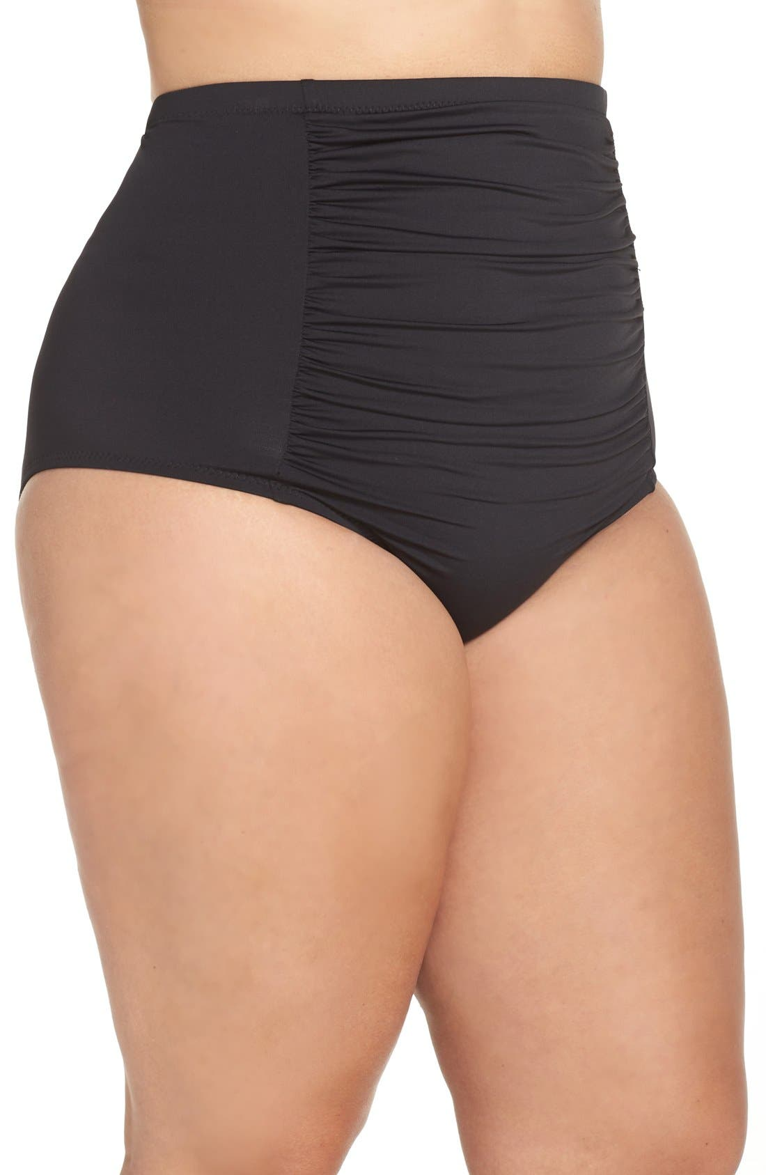 Alternate Image 3  - Becca Etc. Color Code High Waist Bikini Bottoms (Plus Size)