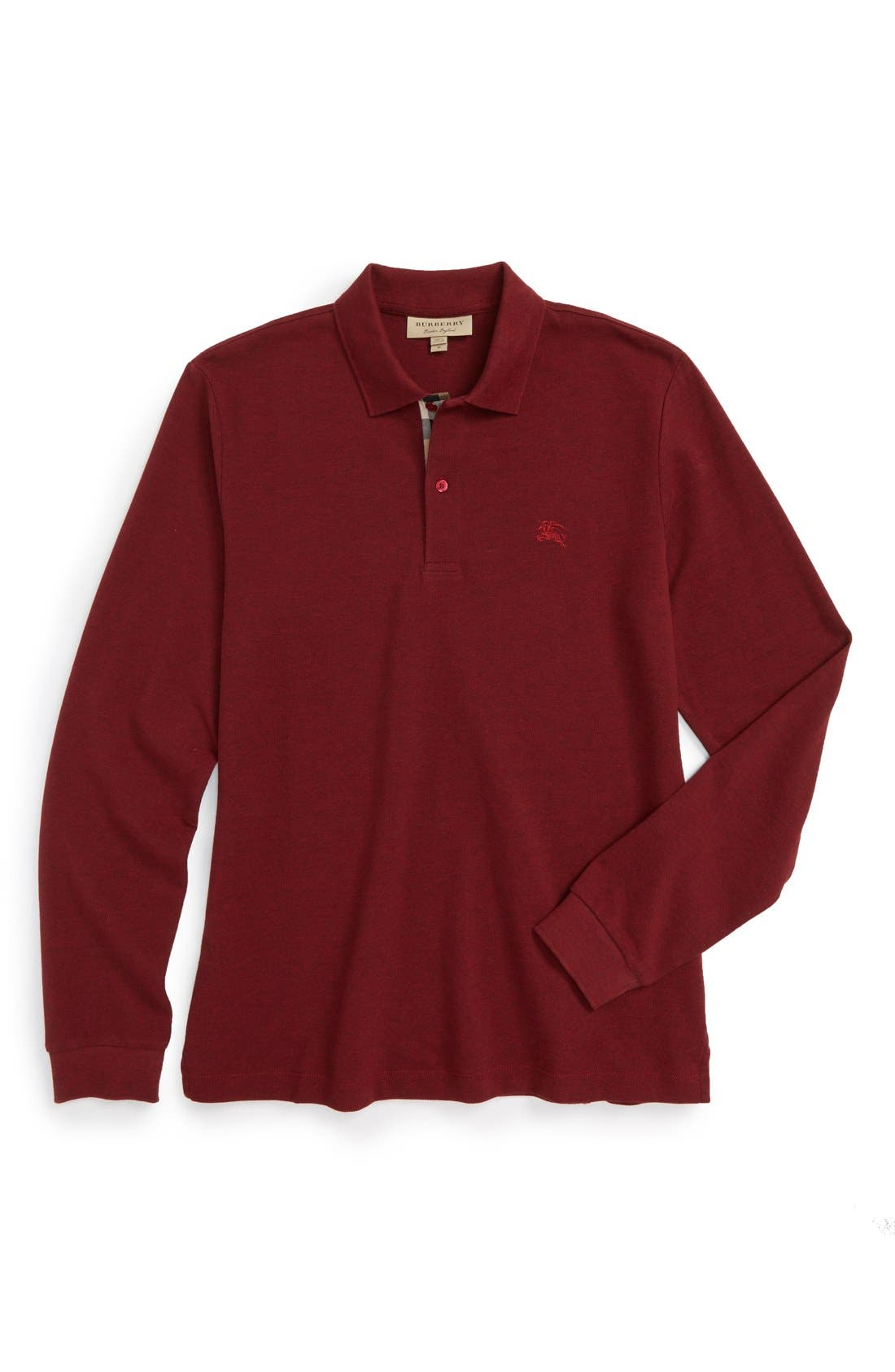 Brit 'Oxford' Long Sleeve Polo,                             Main thumbnail 1, color,                             Parade Red Melange