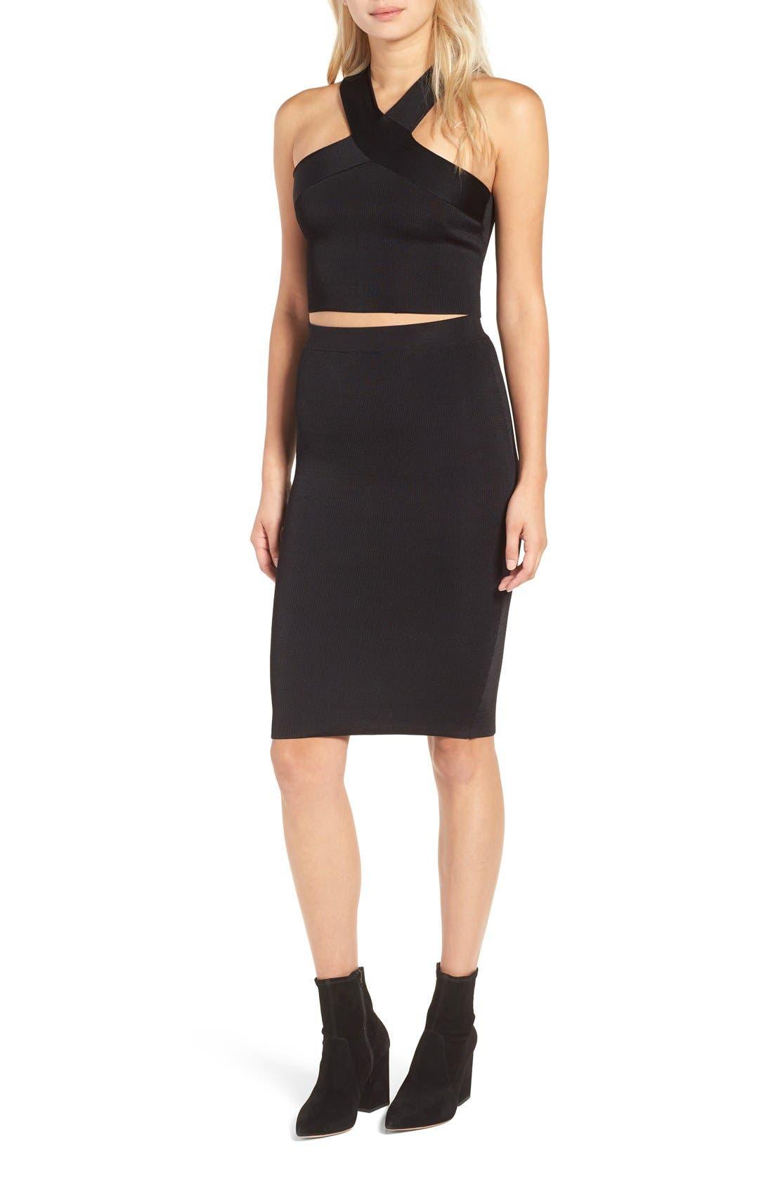 Ribbed Skirt,                             Alternate thumbnail 2, color,                             Black