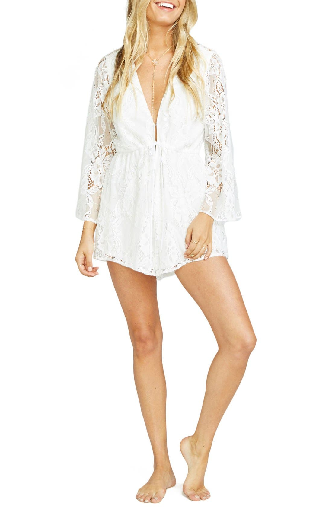Roxy Plunging Tie Waist Romper,                             Alternate thumbnail 3, color,                             Lady In Lace