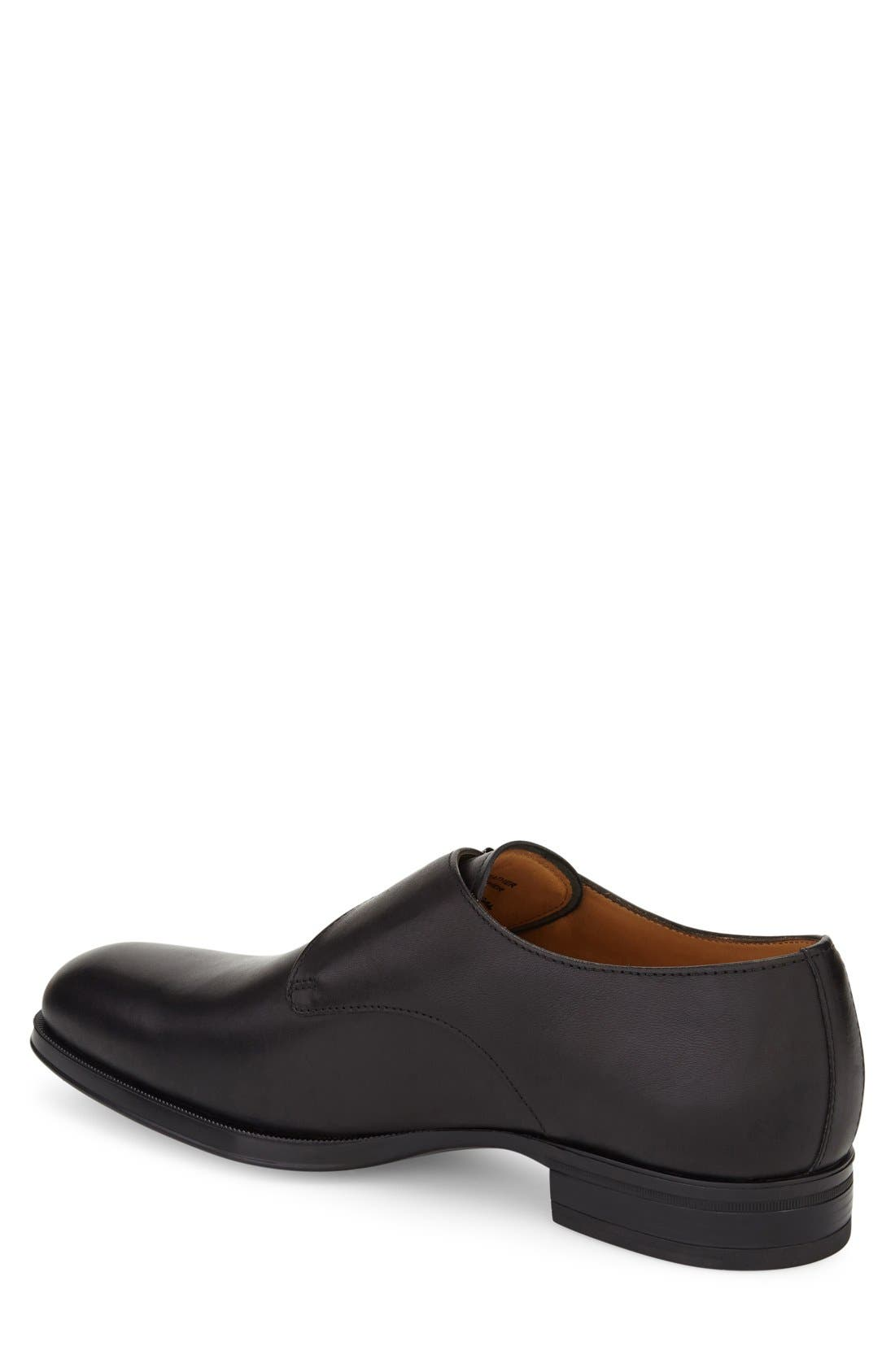 'Trifolo' Monk Strap Shoe,                             Alternate thumbnail 2, color,                             Black Leather