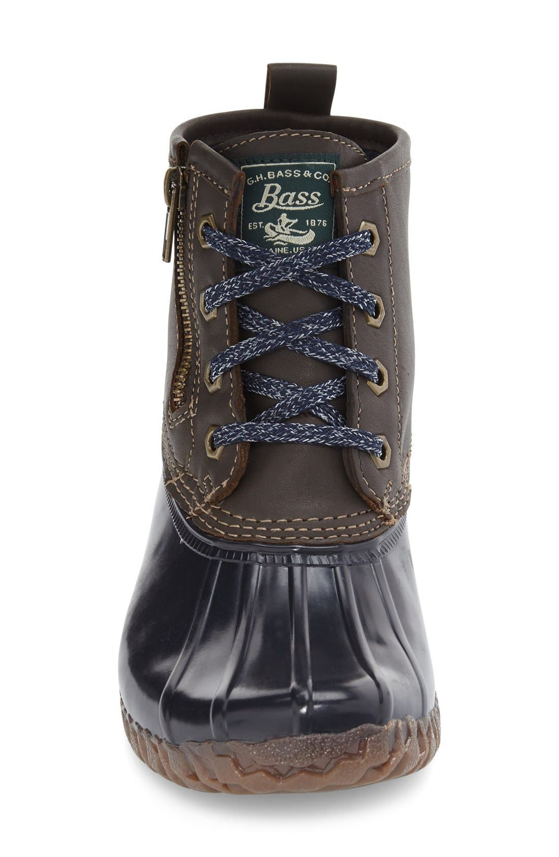 Danielle Waterproof Duck Boot,                             Alternate thumbnail 3, color,                             Chocolate/ Navy Leather
