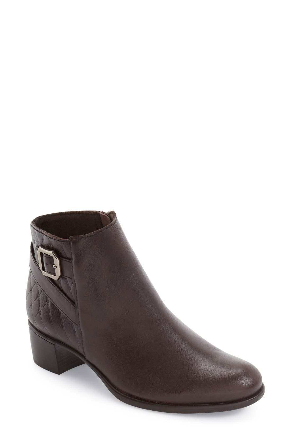 'Jolynn' Bootie,                             Main thumbnail 1, color,                             Brown Quilted Leather