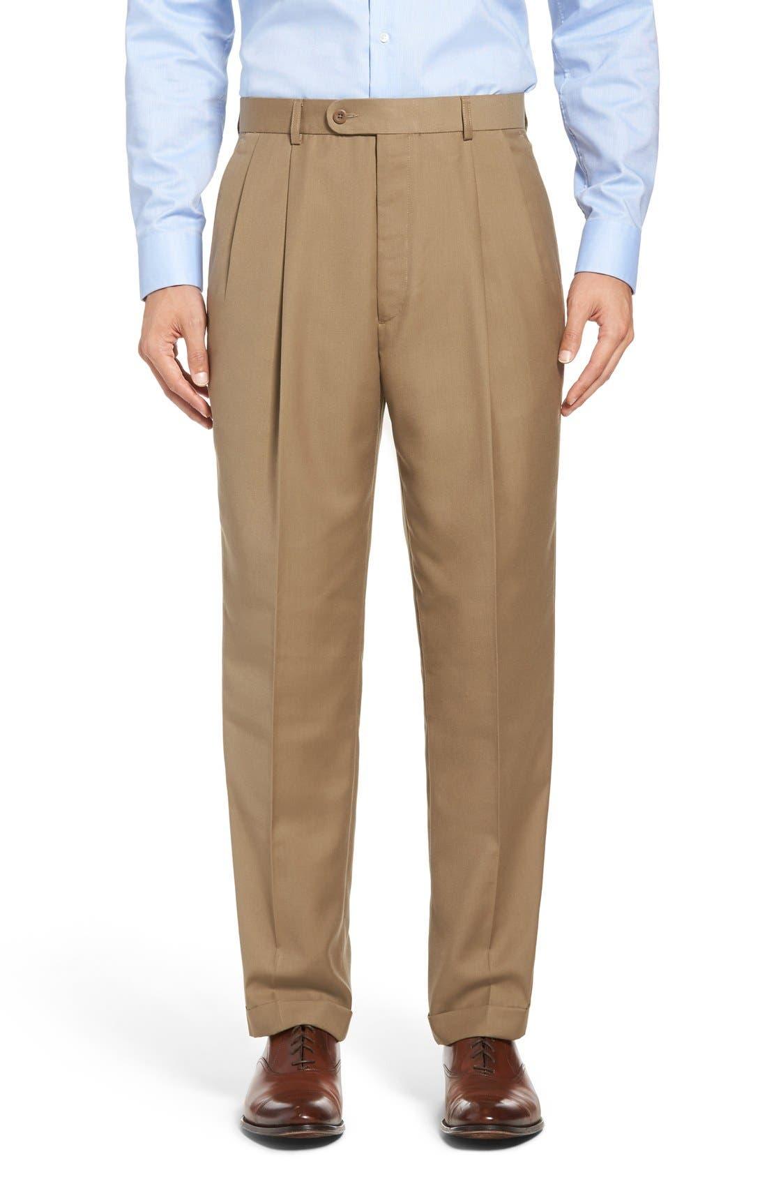 Pleated Microfiber Dress Pants,                         Main,                         color, Taupe
