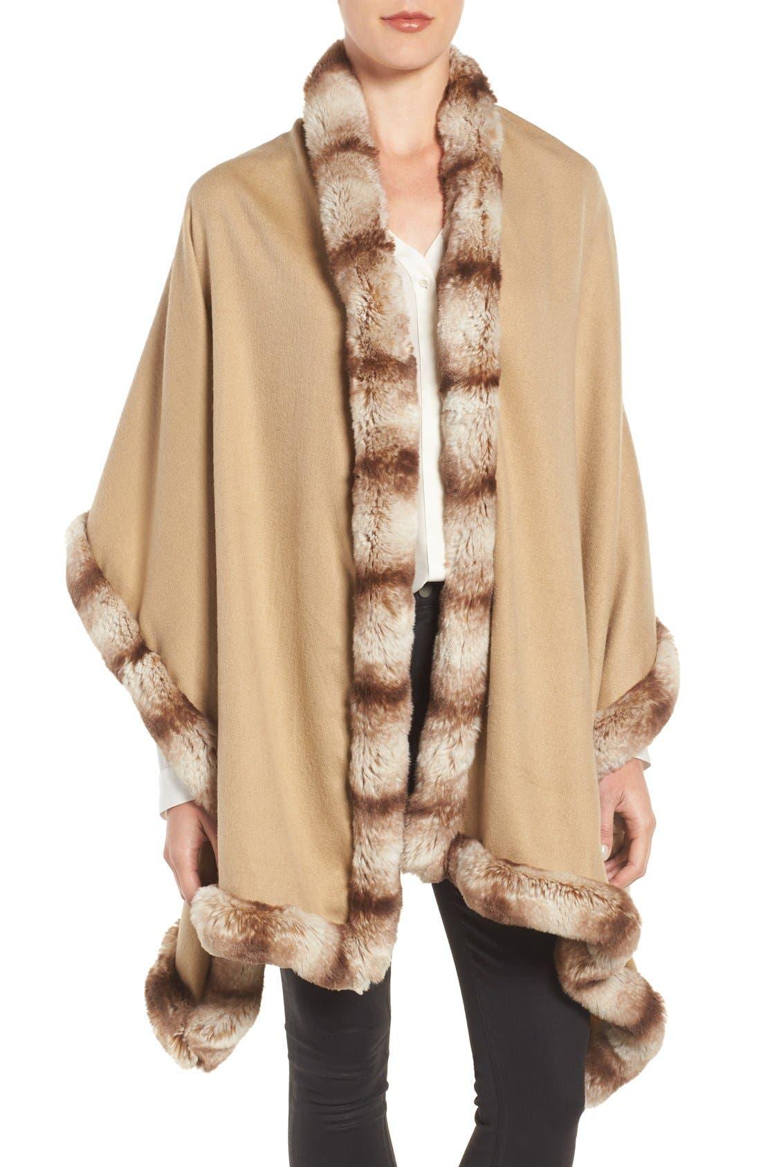 Main Image - Badgley Mischka Faux Fur Trim Wrap