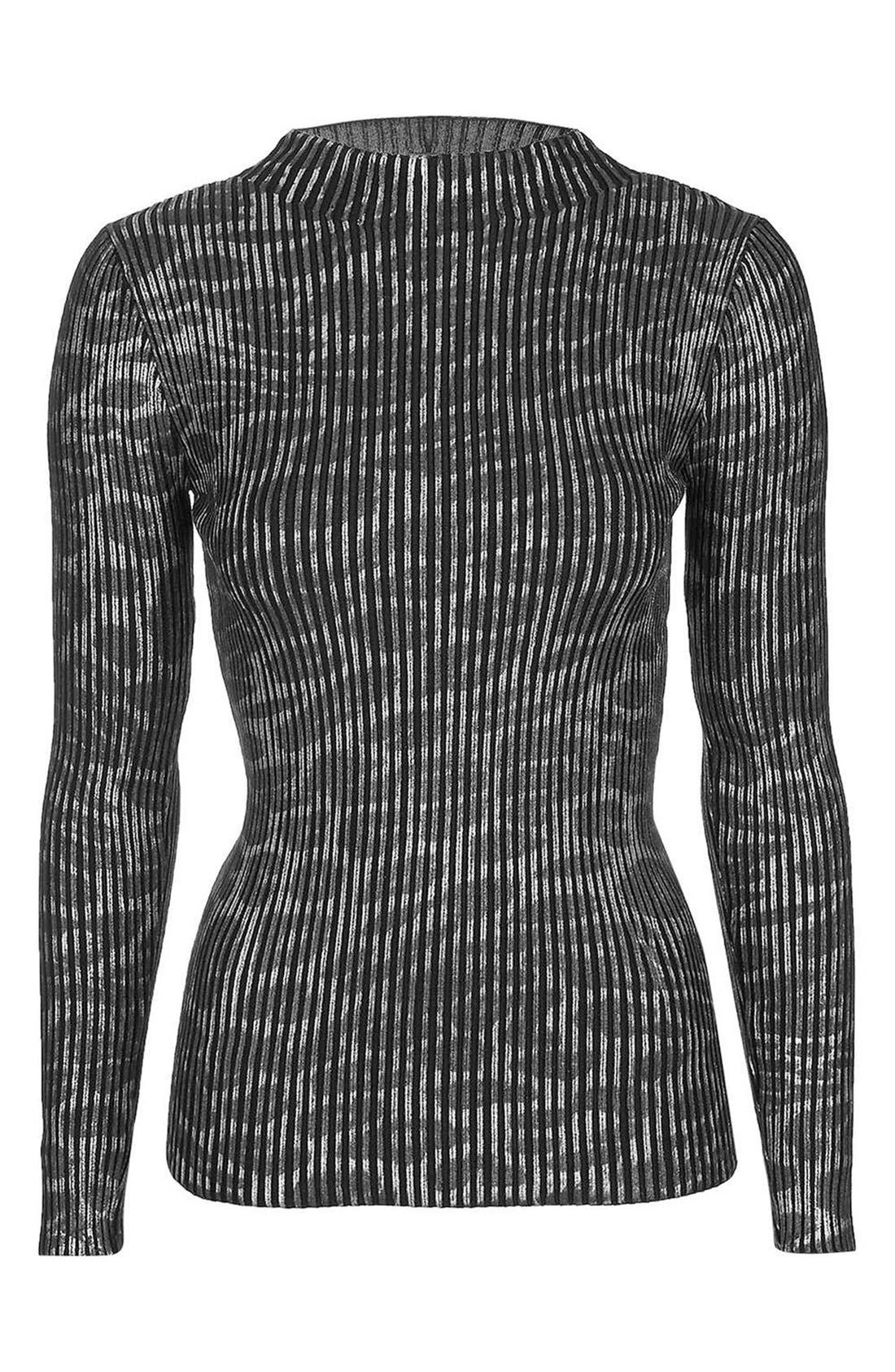 Alternate Image 4  - Topshop Animal Print Ribbed Turtleneck