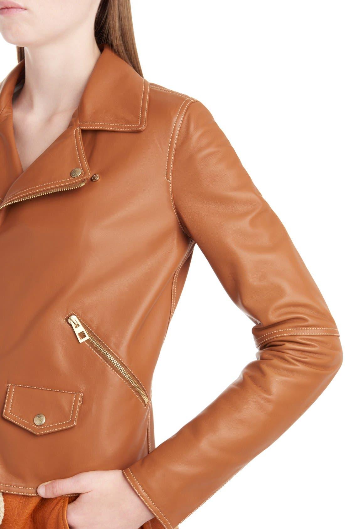 Alternate Image 5  - Loewe Nappa Leather Biker Jacket