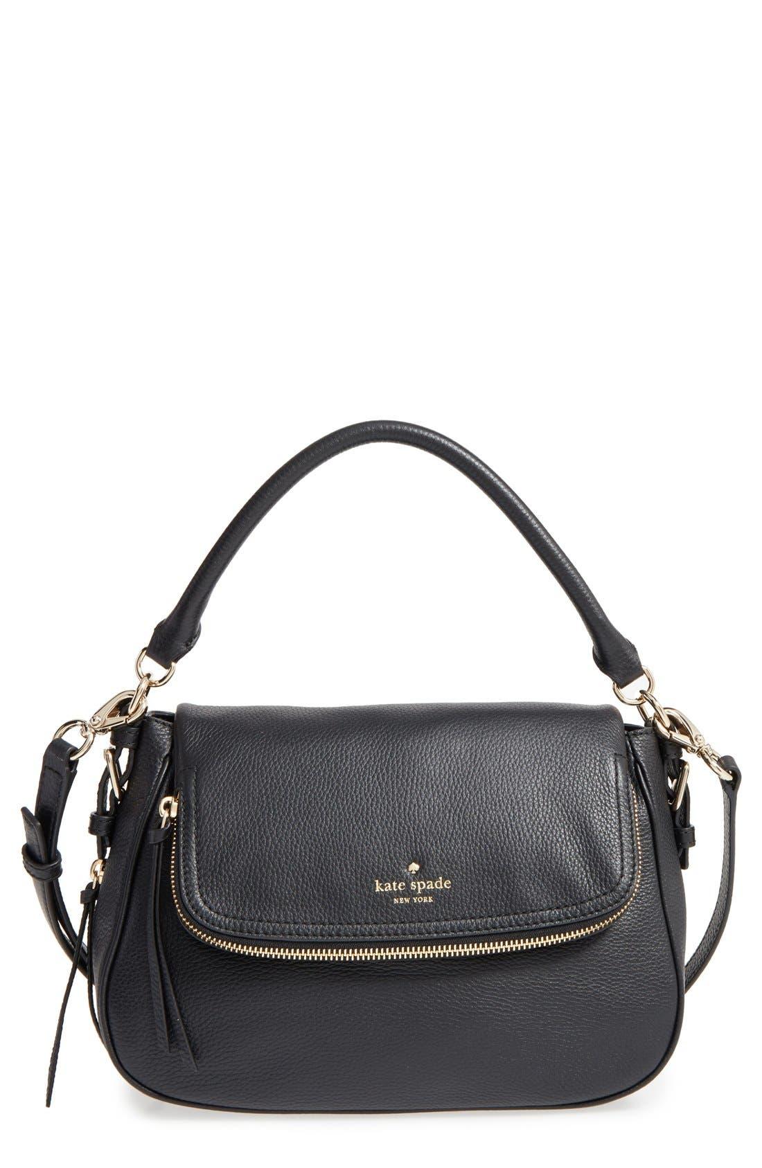 cobble hill - deva leather crossbody bag,                             Main thumbnail 1, color,                             Black