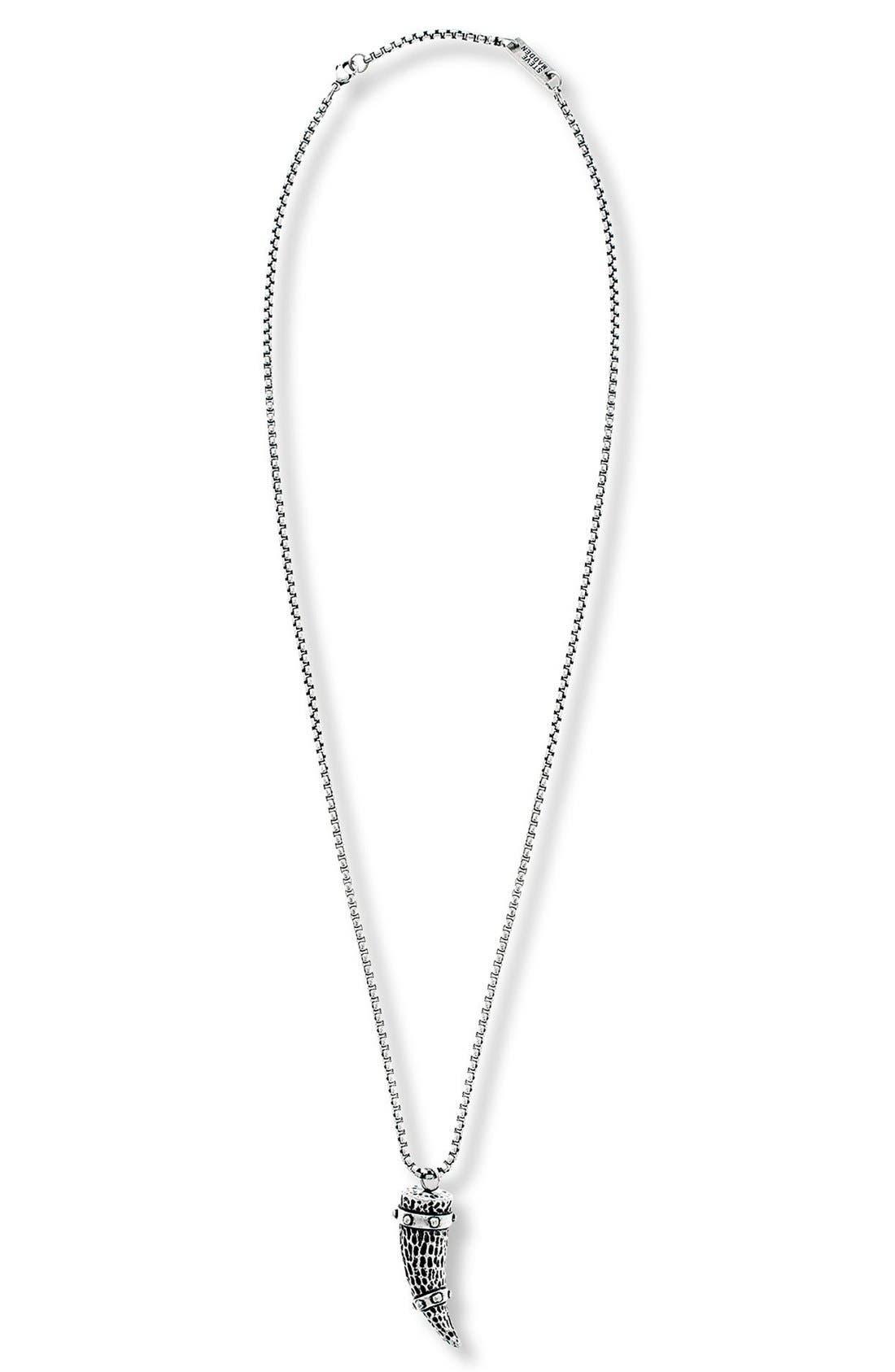 Hammered Horn Pendant Necklace,                         Main,                         color, Burnished Silver