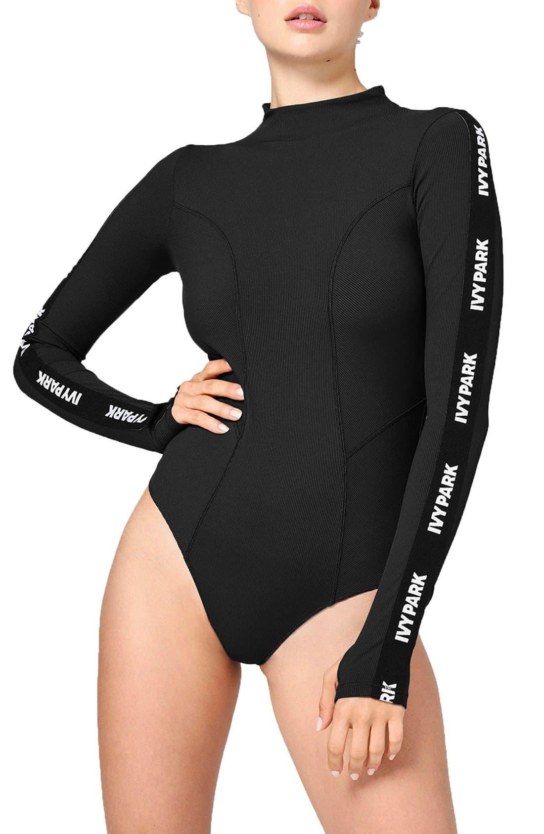 Main Image - IVY PARK® Elastic Logo Sleeve Bodysuit