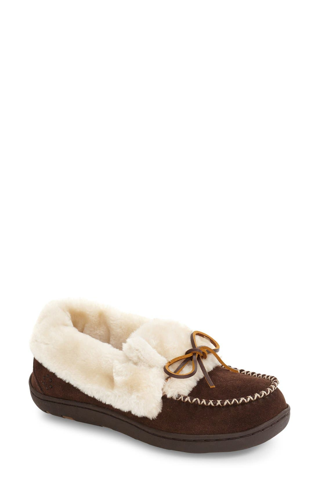 Laurin Slipper,                             Main thumbnail 1, color,                             Chocolate Suede