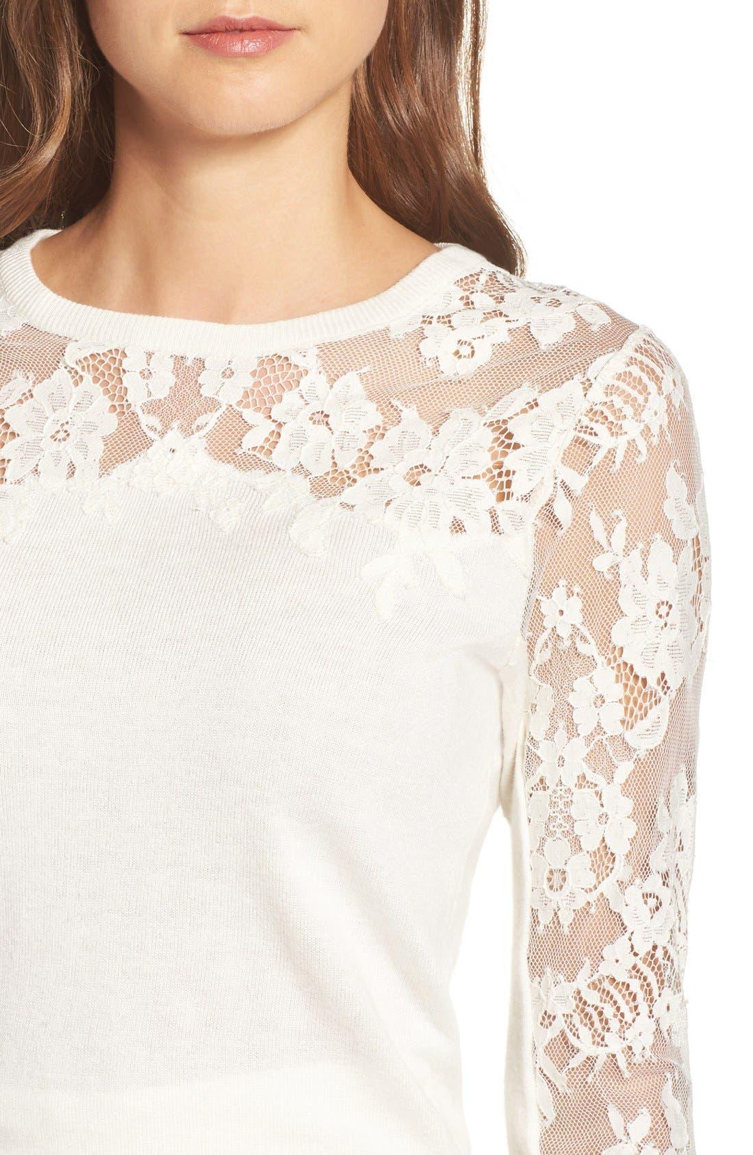 Alternate Image 4  - Jenny Yoo Aimee Lace Detail Crewneck Sweater
