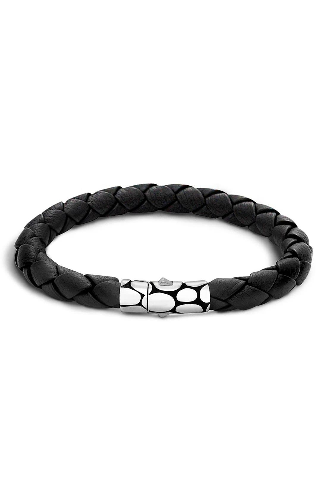 'Kali' Leather Bracelet,                             Main thumbnail 1, color,                             Silver/ Black
