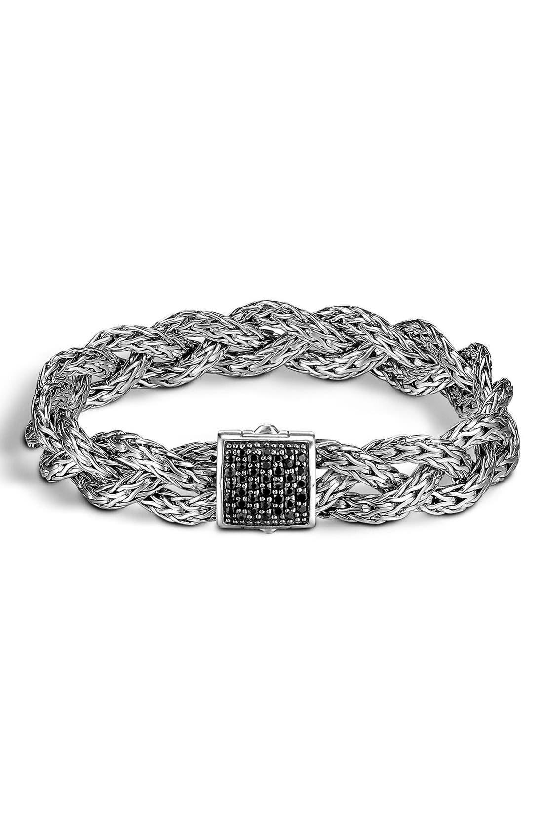'Braided Chain' Semiprecious Stone Bracelet,                             Main thumbnail 1, color,                             Silver/ Black Sapphire