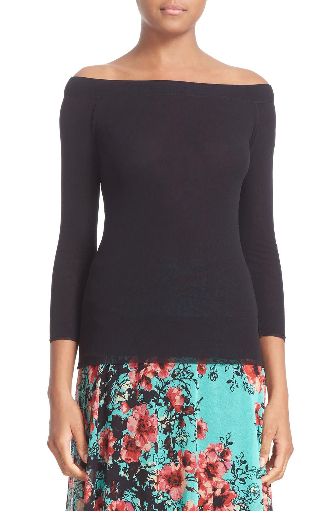 Tulle Boatneck Top,                         Main,                         color, Nero
