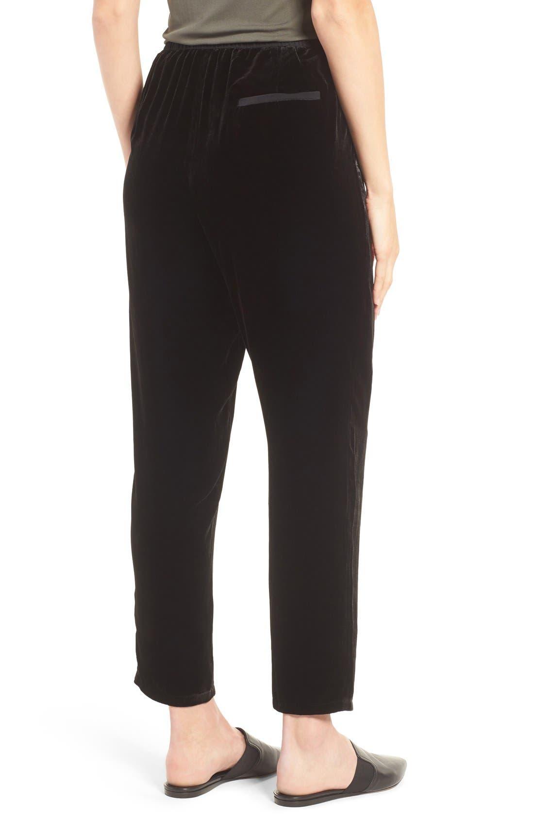 Velvet Ankle Pants,                             Alternate thumbnail 2, color,                             Black