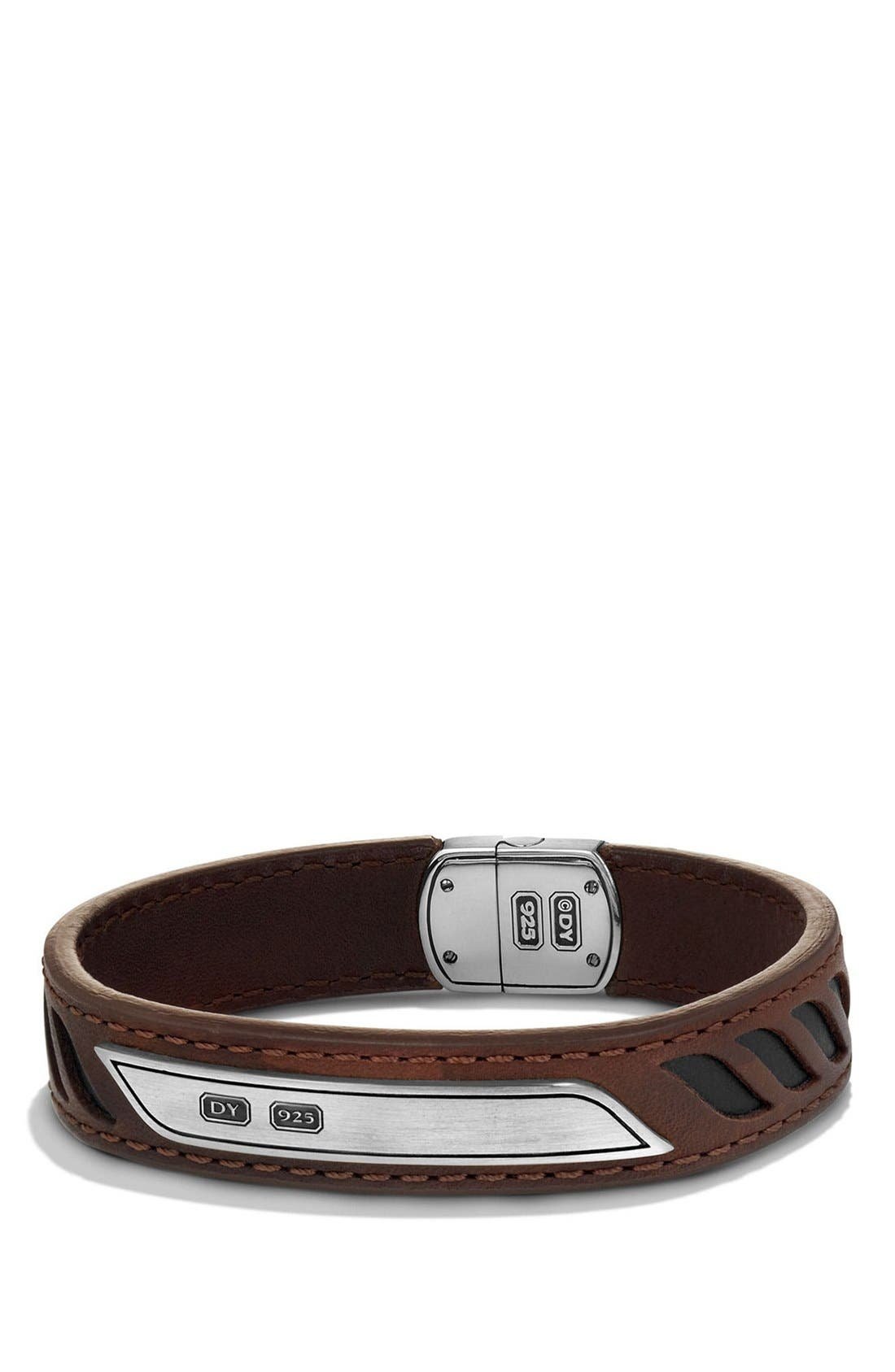 'Graphic Cable' Leather ID Bracelet,                             Main thumbnail 1, color,                             Silver/ Brown