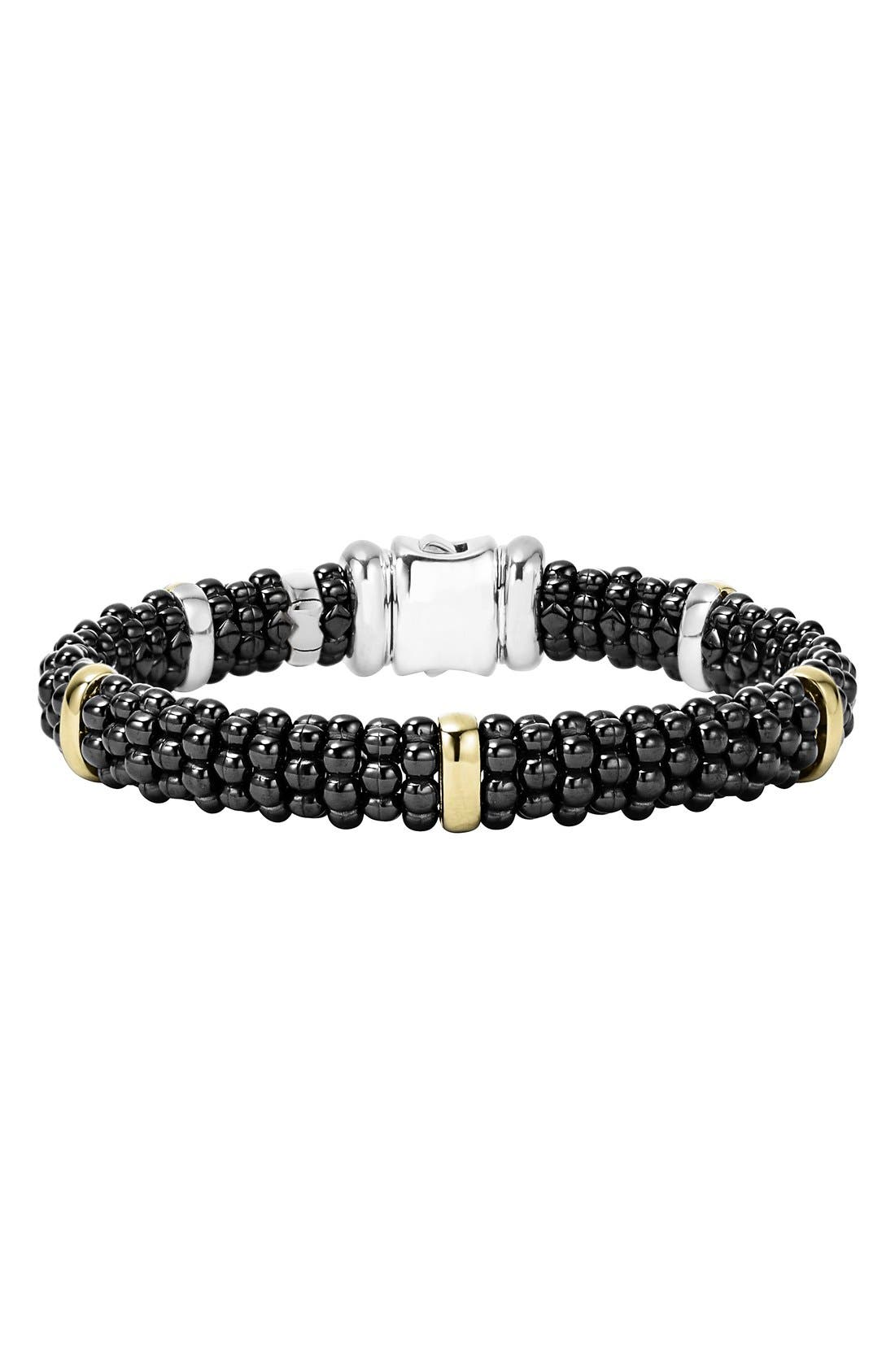 'Black Caviar' Rope Bracelet,                             Main thumbnail 1, color,                             Black Caviar/ Gold