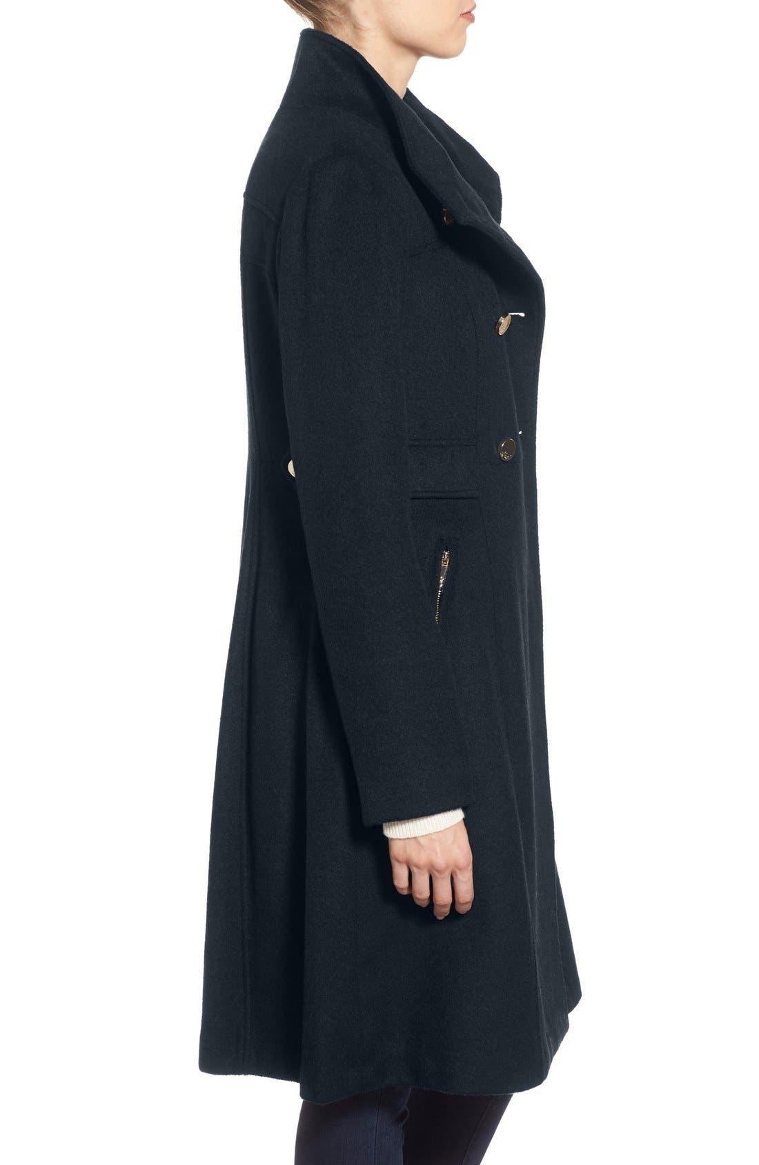 Alternate Image 3  - Eliza J Wool Blend Long Military Coat (Regular & Petite)