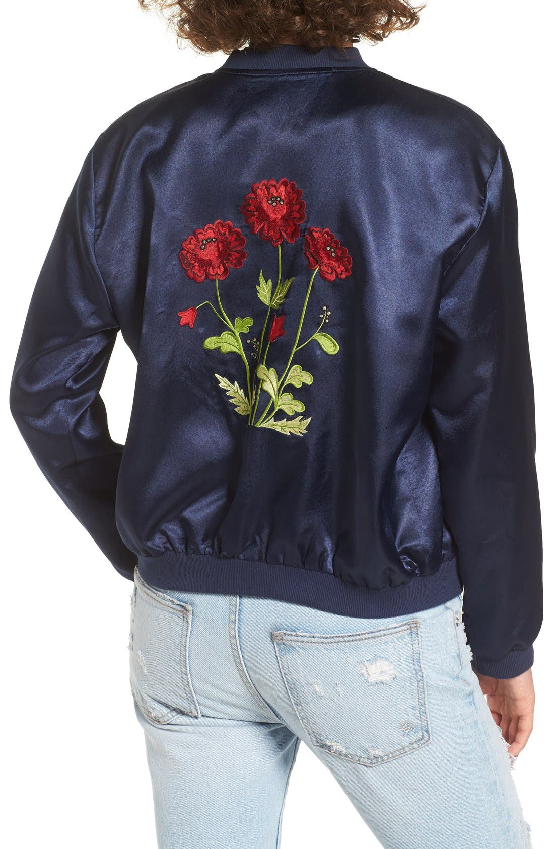Alternate Image 2  - Tularosa Mara Embroidered Satin Bomber Jacket