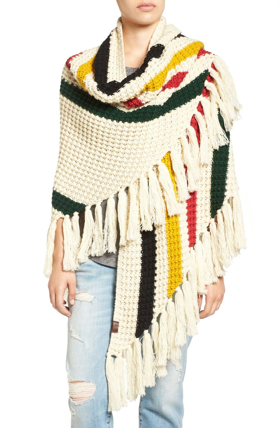 Alternate Image 4  - Pendleton Stripe Chunky Fringe Wrap