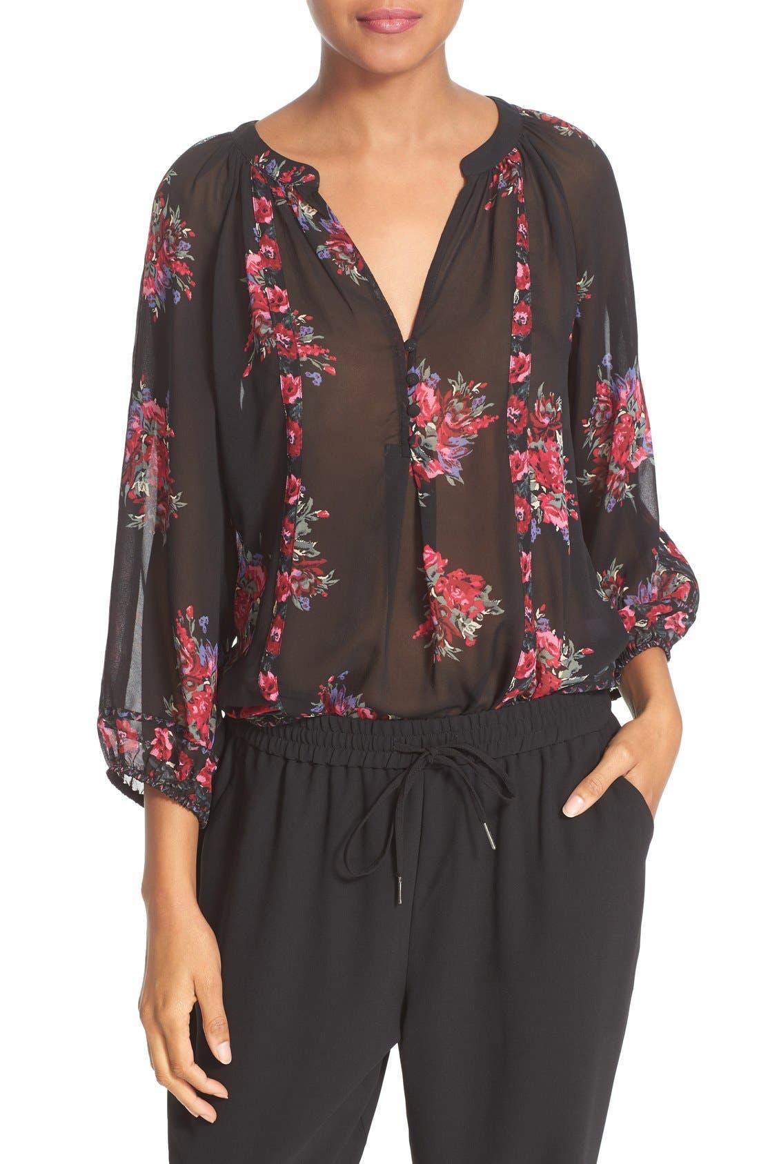 Joie 'Gloria' Floral Print Silk Peasant Top