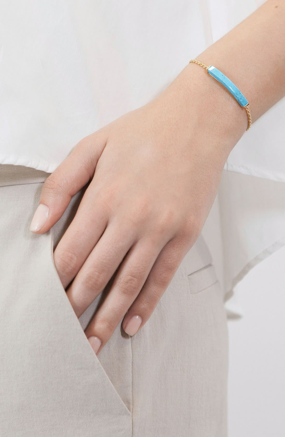 Linear Semiprecious Stone Bracelet,                             Alternate thumbnail 3, color,                             Gold/ Turquoise
