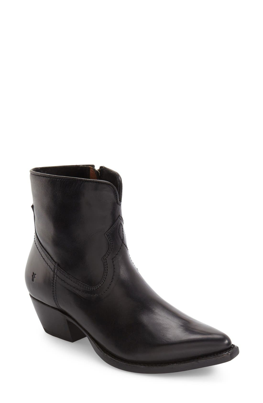 'Shane' Western Bootie,                             Main thumbnail 1, color,                             Black Leather