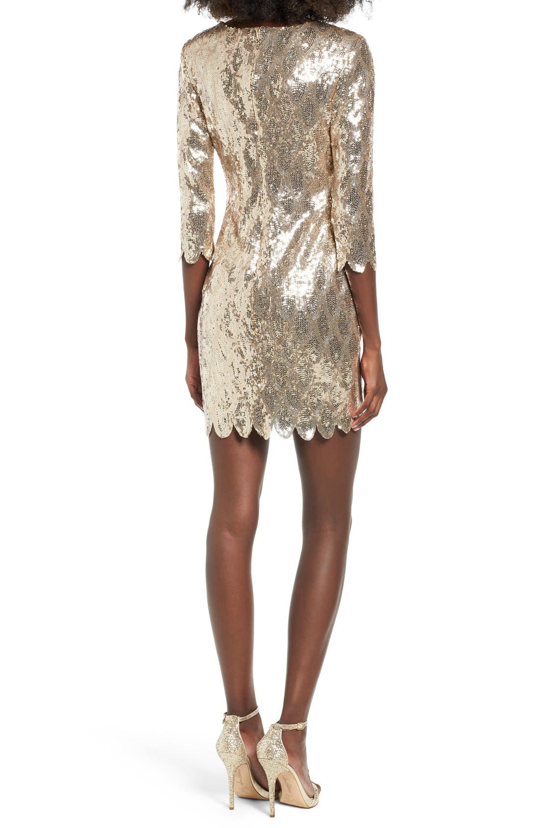 Alternate Image 2  - TFNC Paris Scallop Hem Sequin Dress