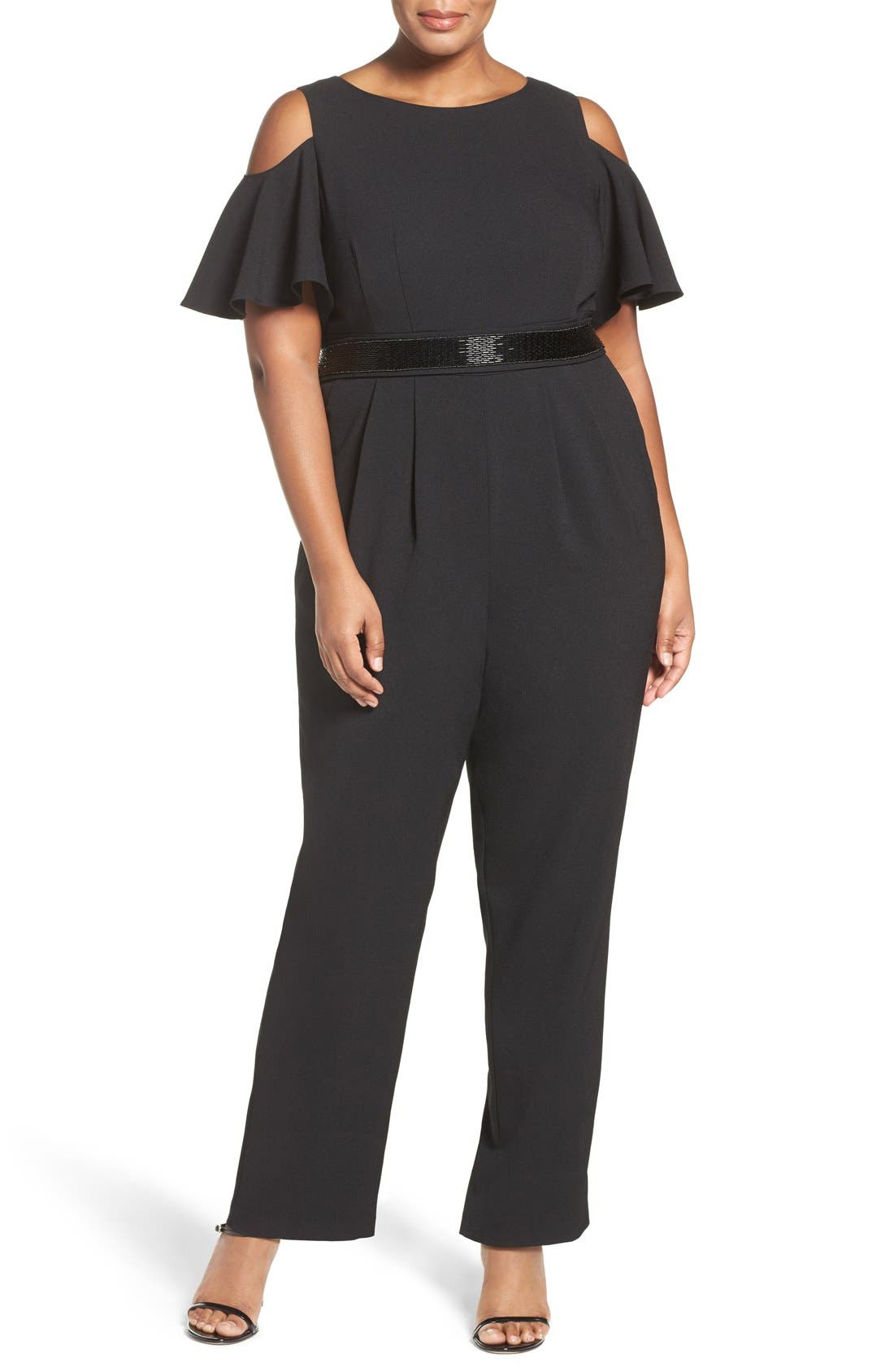 Embellished Cold Shoulder Jumpsuit,                             Main thumbnail 1, color,                             Black