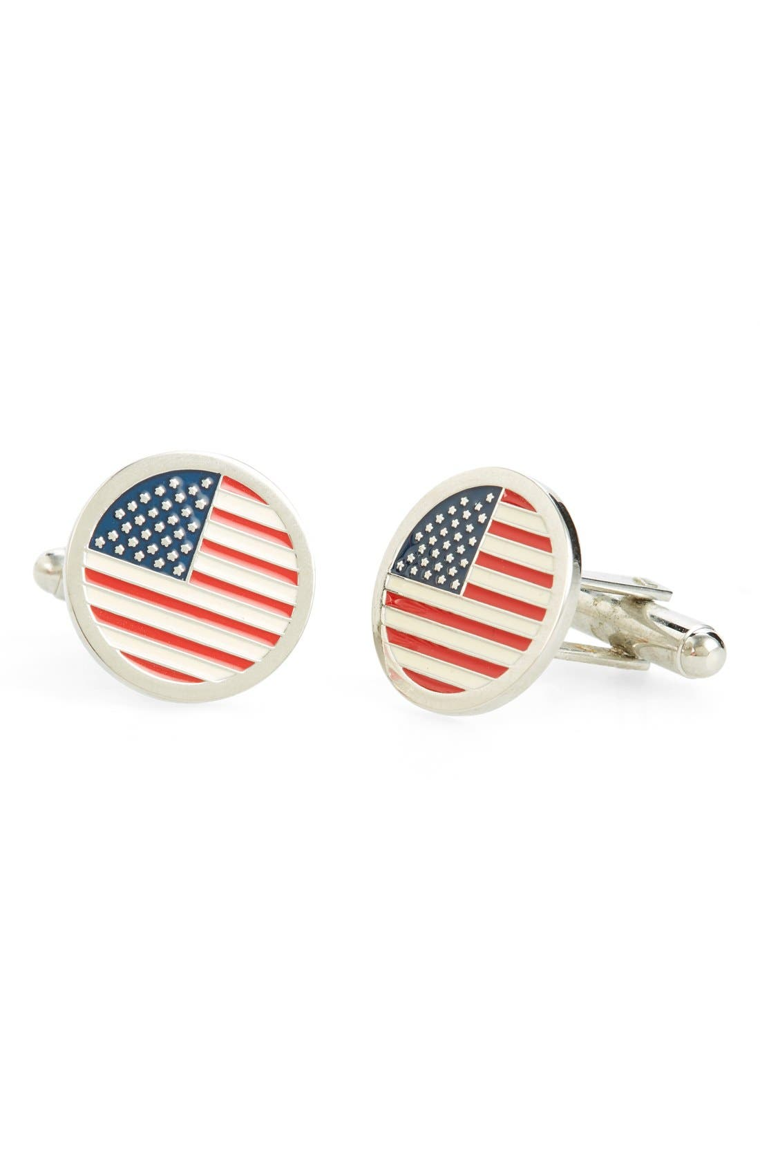 Round American Flag Cuff Links,                         Main,                         color, Red/ White/ Blue