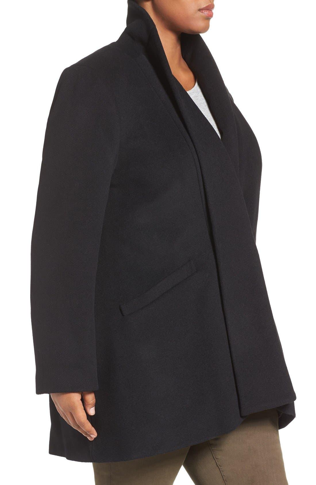Alternate Image 3  - Calvin Klein Lux Basketweave Flyaway Coat (Plus Size)