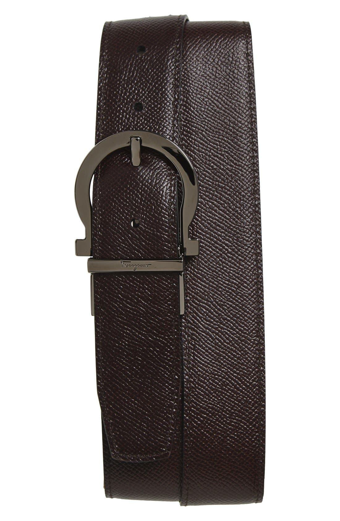 Reversible Leather Belt,                             Alternate thumbnail 2, color,                             Black/ Hickory