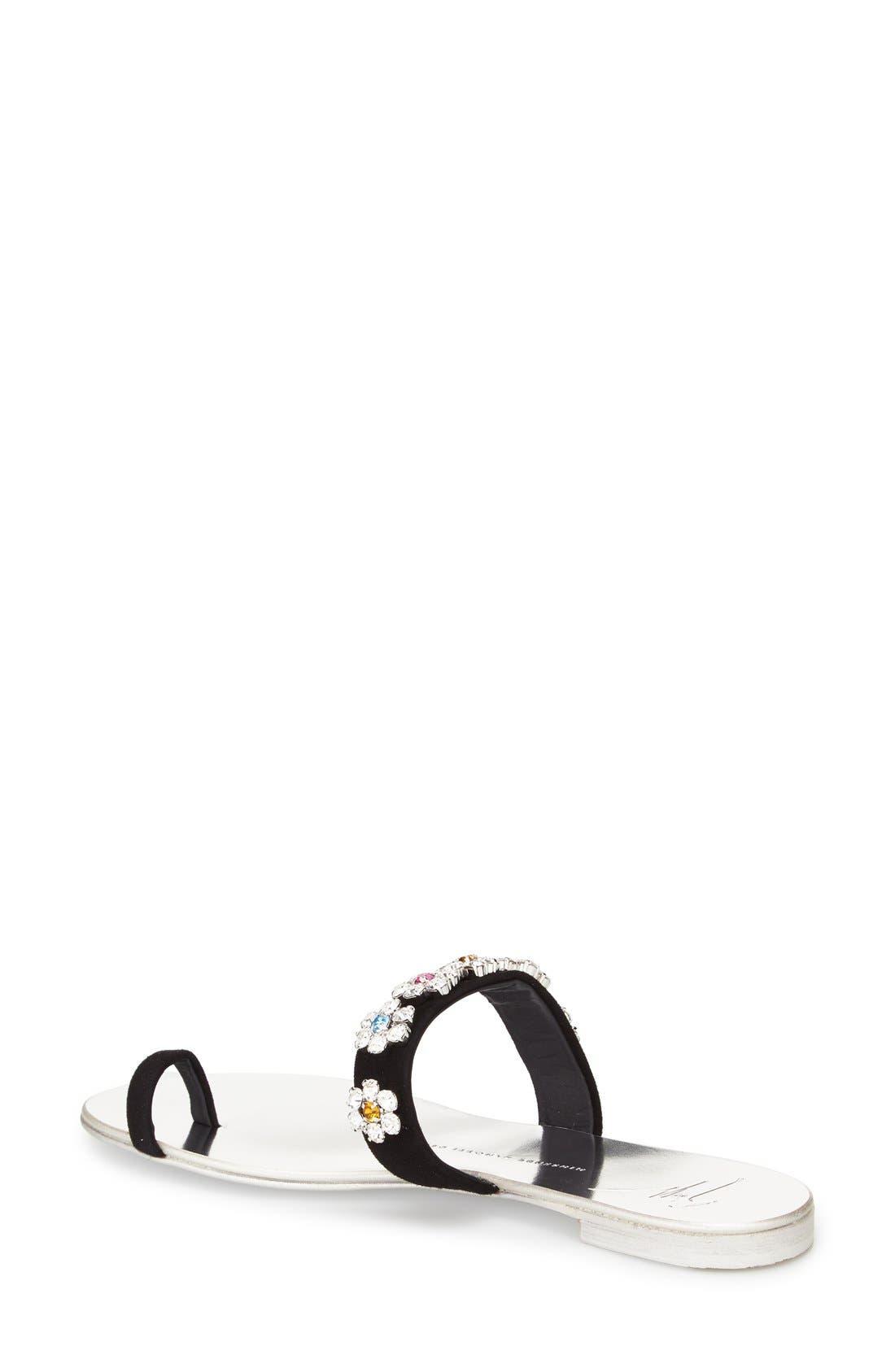 Alternate Image 2  - Giuseppe Zanotti Crystal Embellished Flat Sandal (Women)